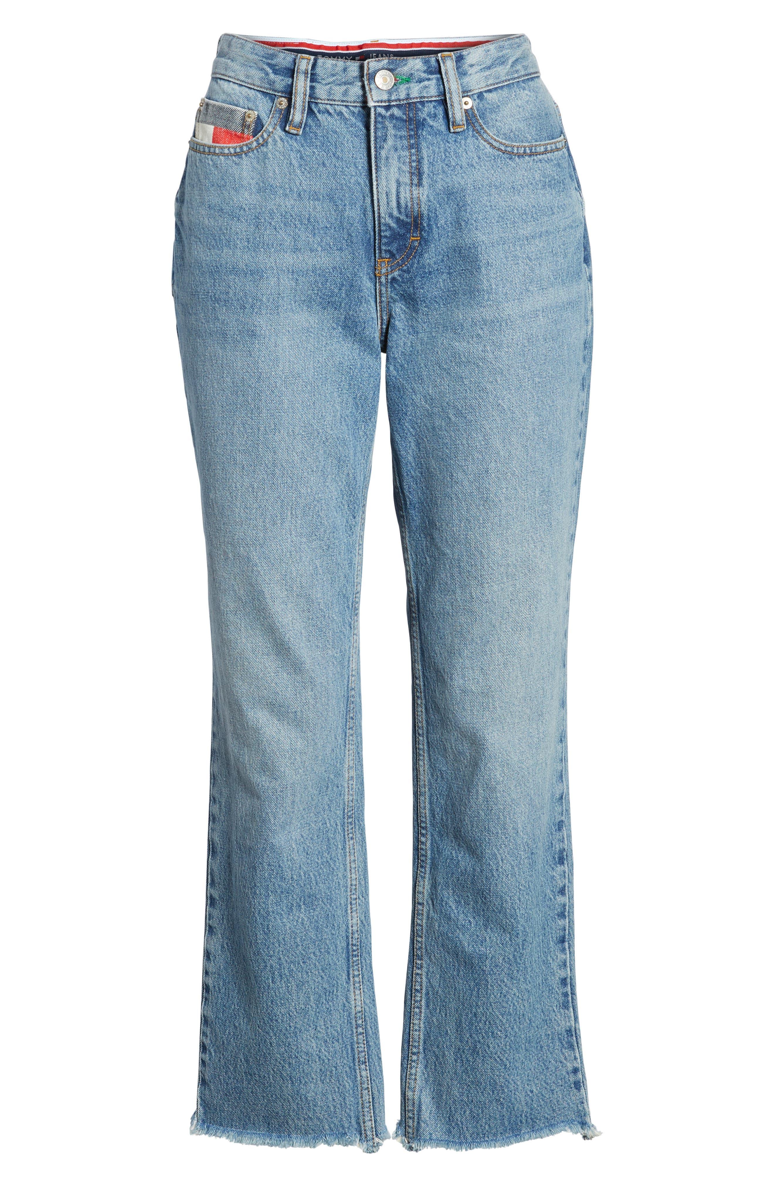 TJW 90s Mom Jeans,                             Alternate thumbnail 8, color,                             Mid Blue Denim