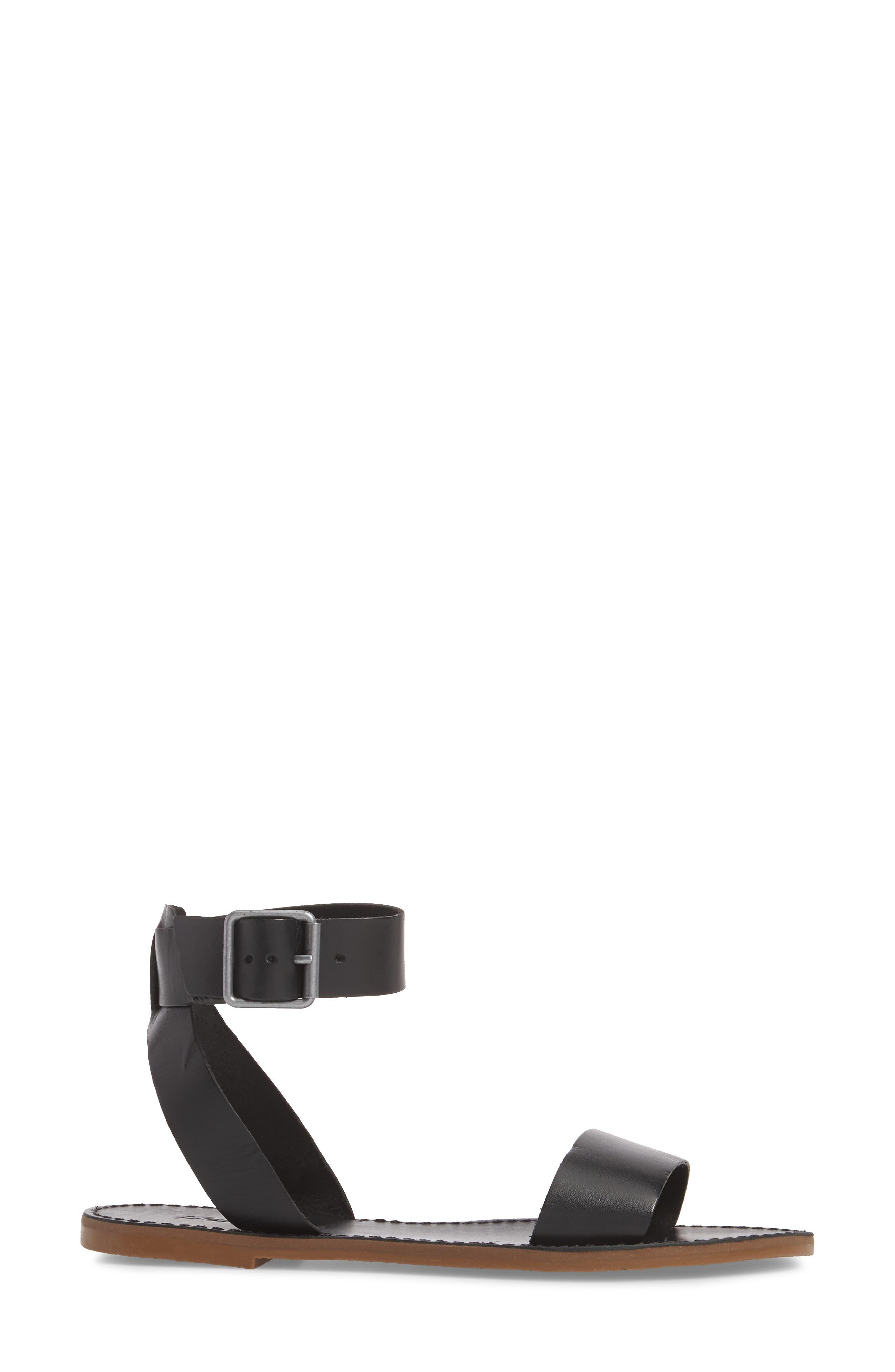 The Boardwalk Ankle Strap Sandal,                             Alternate thumbnail 3, color,                             True Black Leather