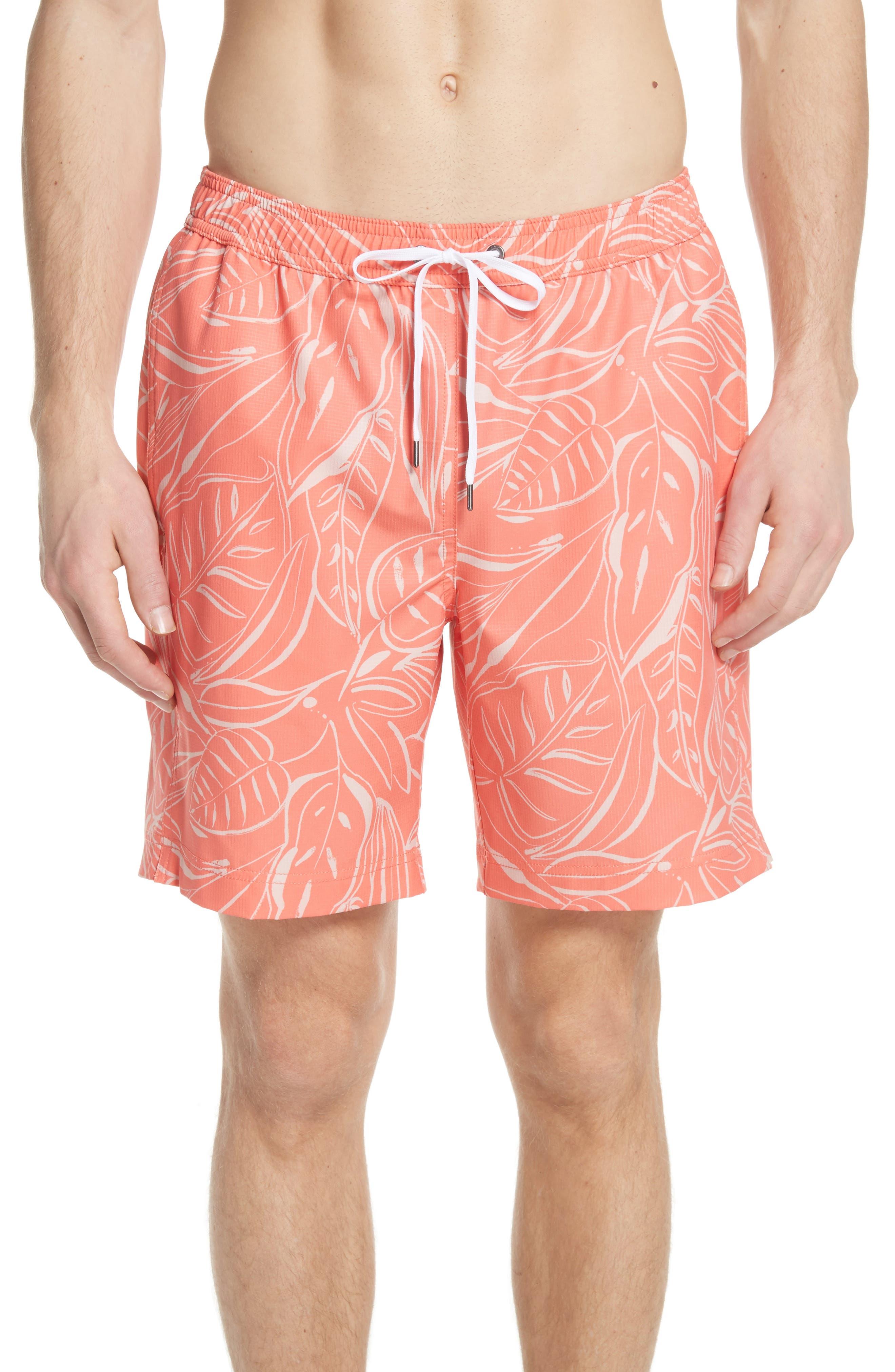 Charles Leaf Print Swim Trunks,                         Main,                         color, Tangerine Coral