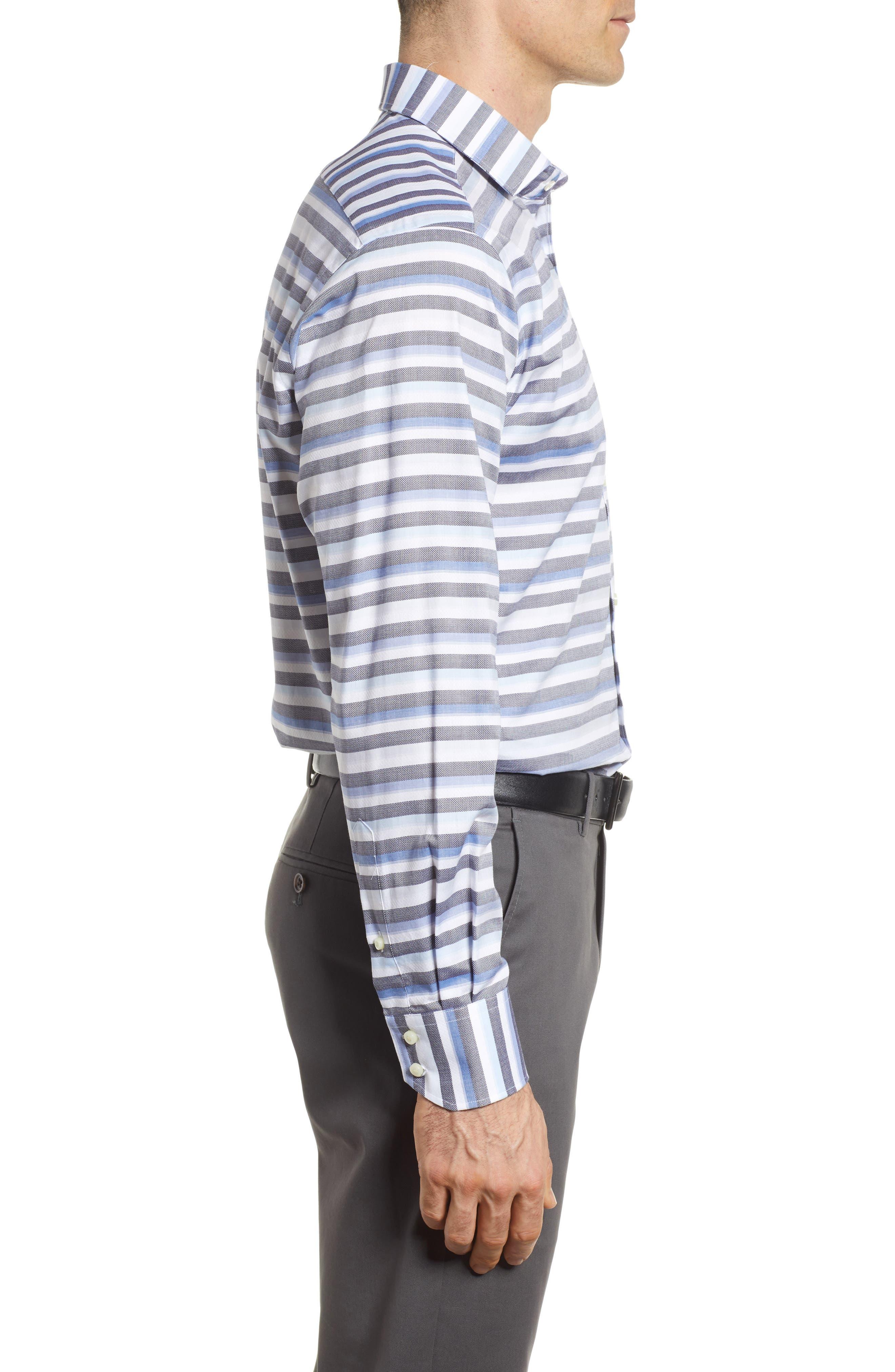 Stripe Sport Shirt,                             Alternate thumbnail 3, color,                             Blue