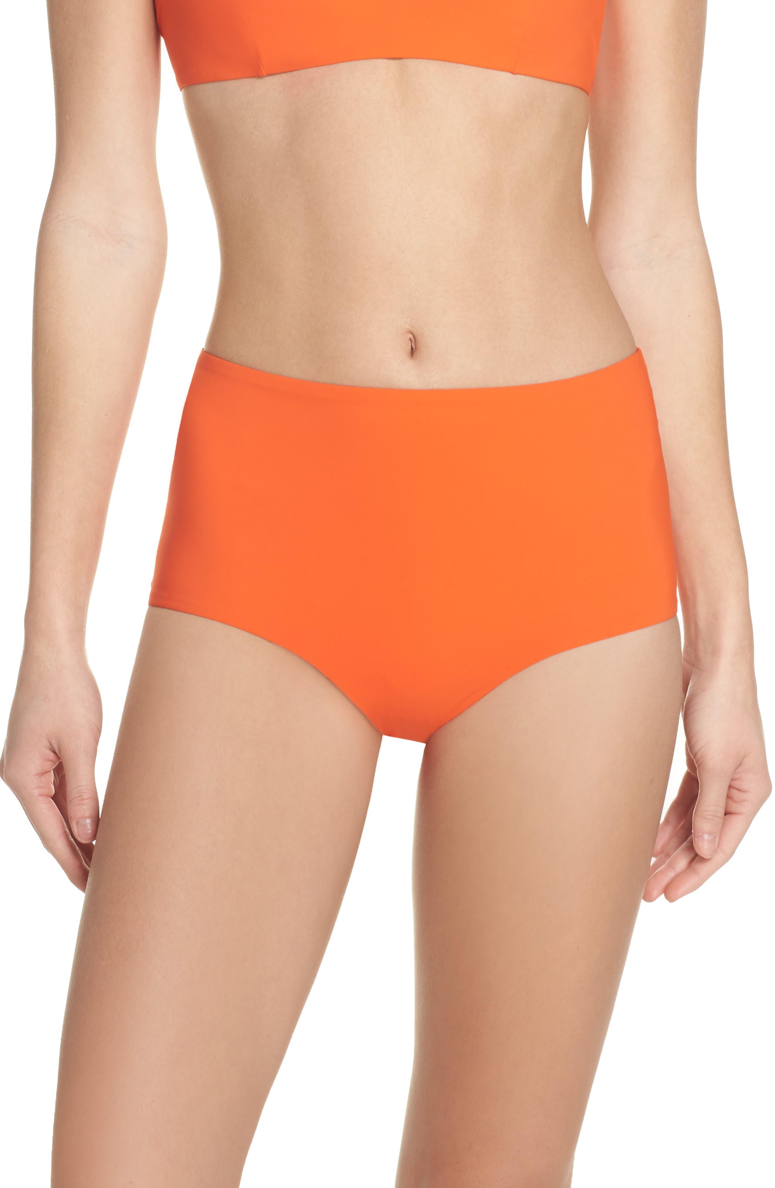 Marina High Waist Bikini Bottoms,                         Main,                         color, Sweet Tangerine