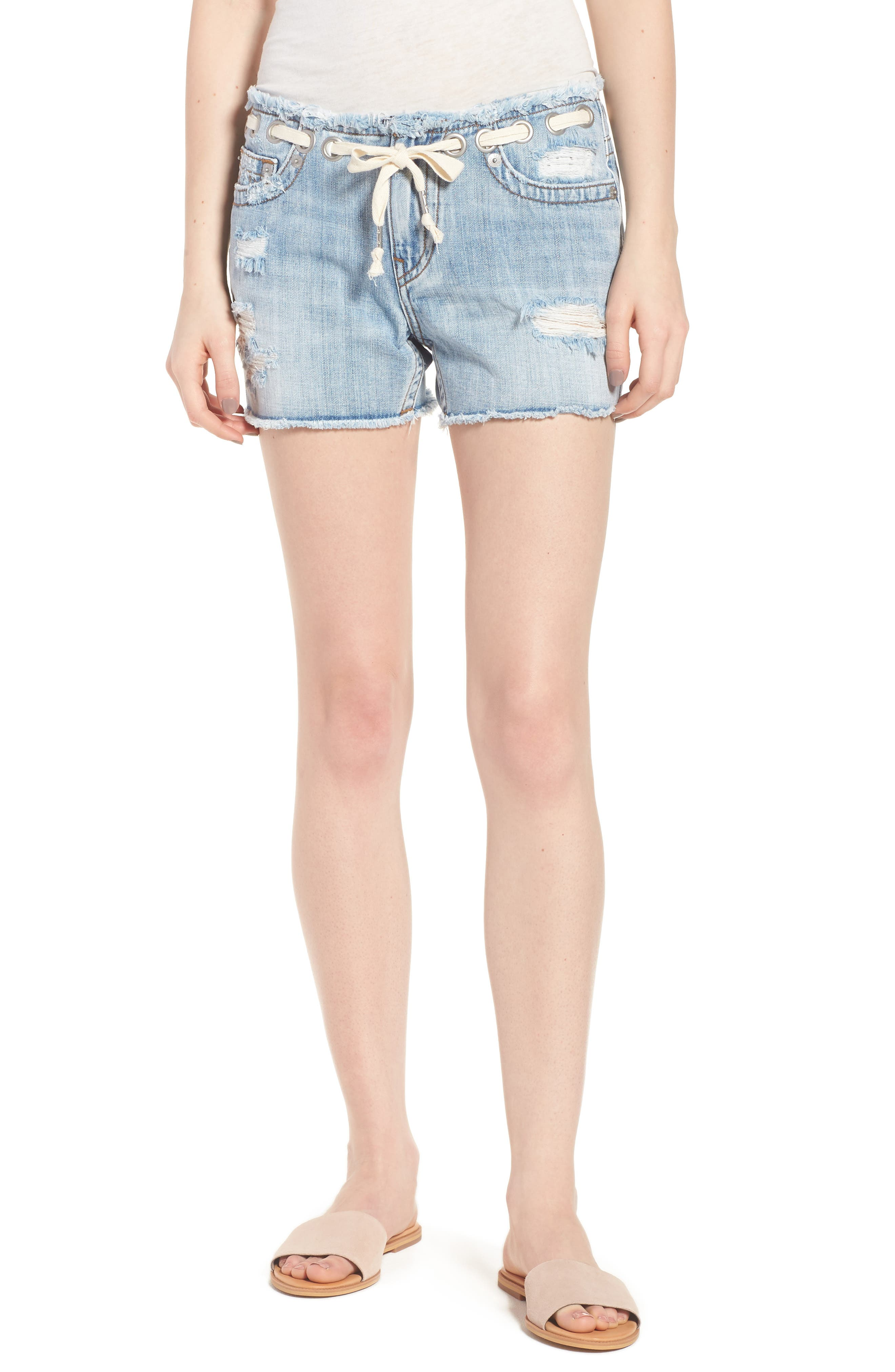 Fashion Distressed Denim Shorts,                             Main thumbnail 1, color,                             Ersl Baseline Destroy