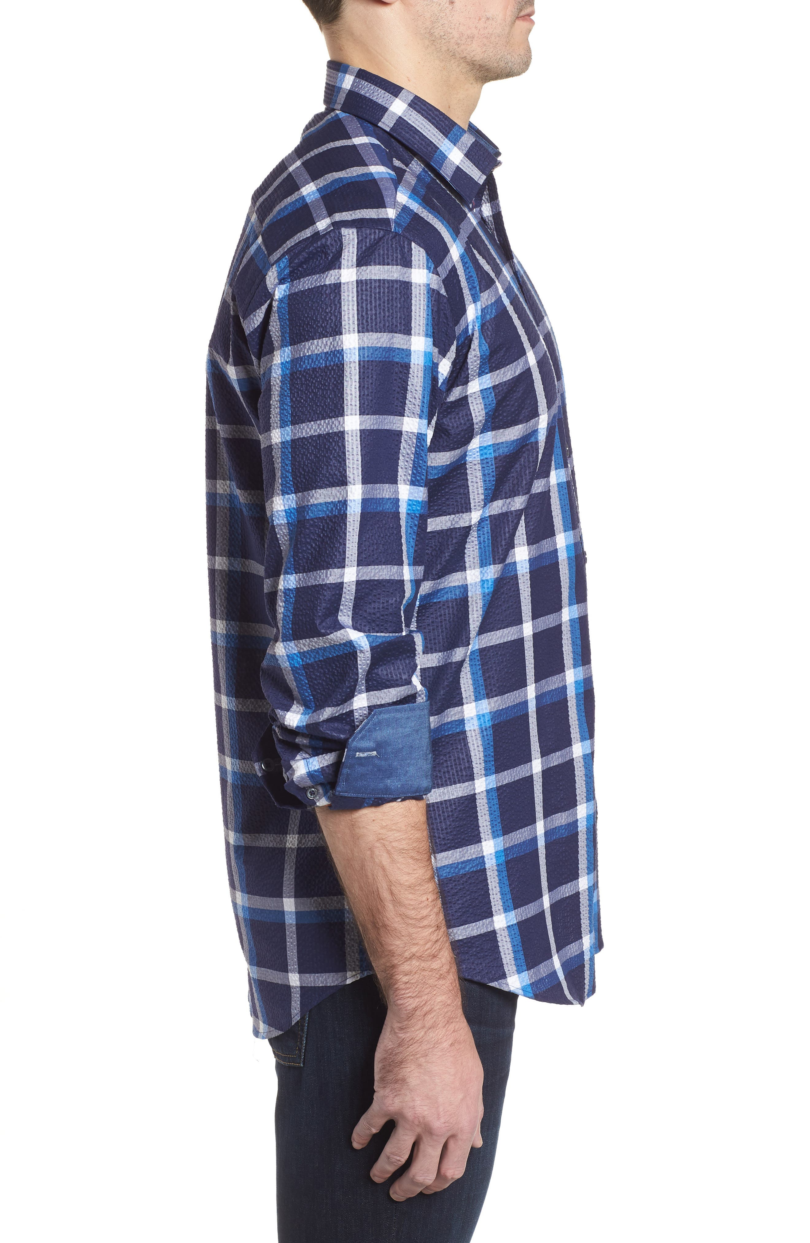 Shaped Fit Windowpane Plaid Sport Shirt,                             Alternate thumbnail 3, color,                             Navy