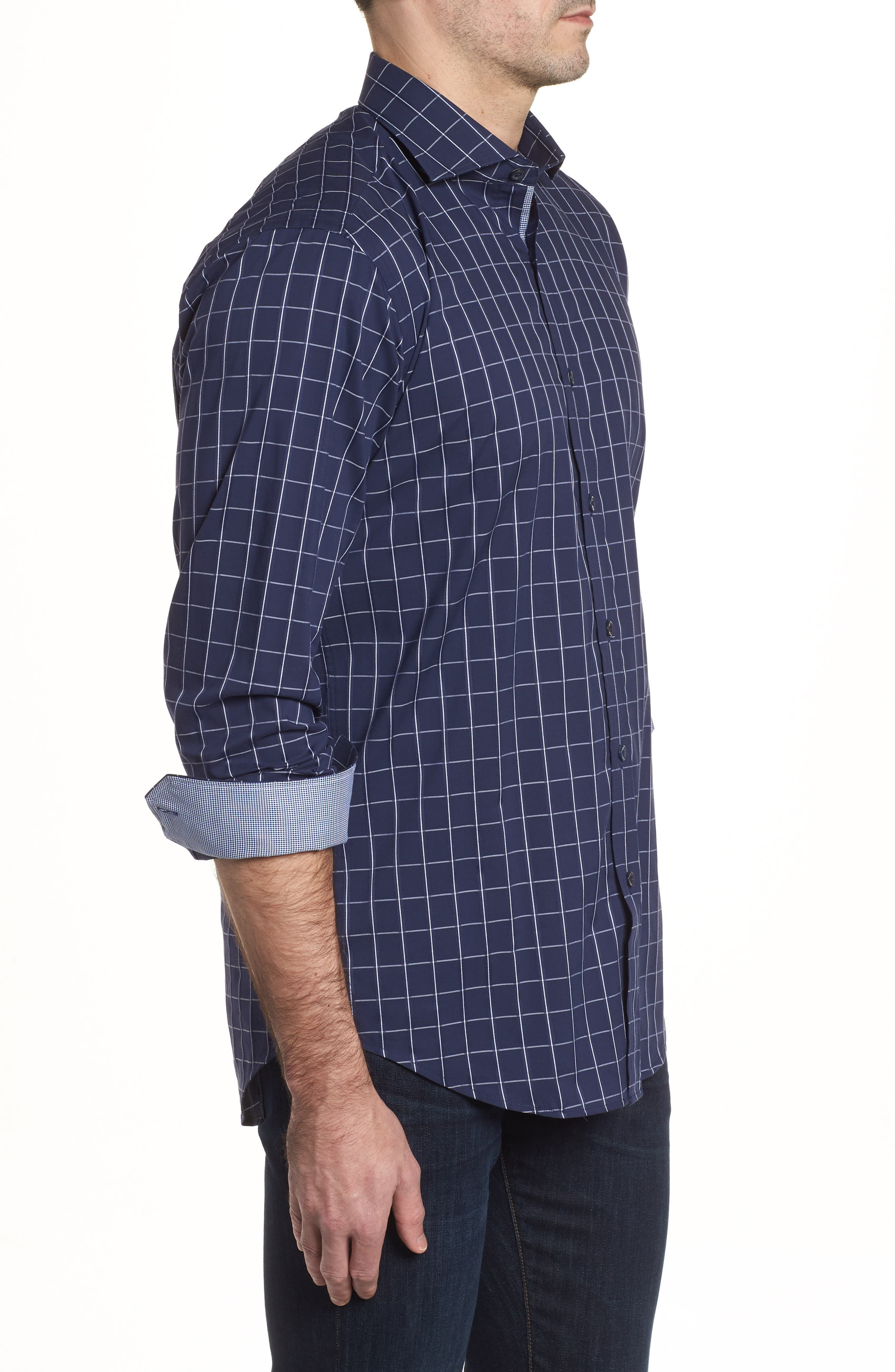 Shaped Fit Check Sport Shirt,                             Alternate thumbnail 3, color,                             Midnight