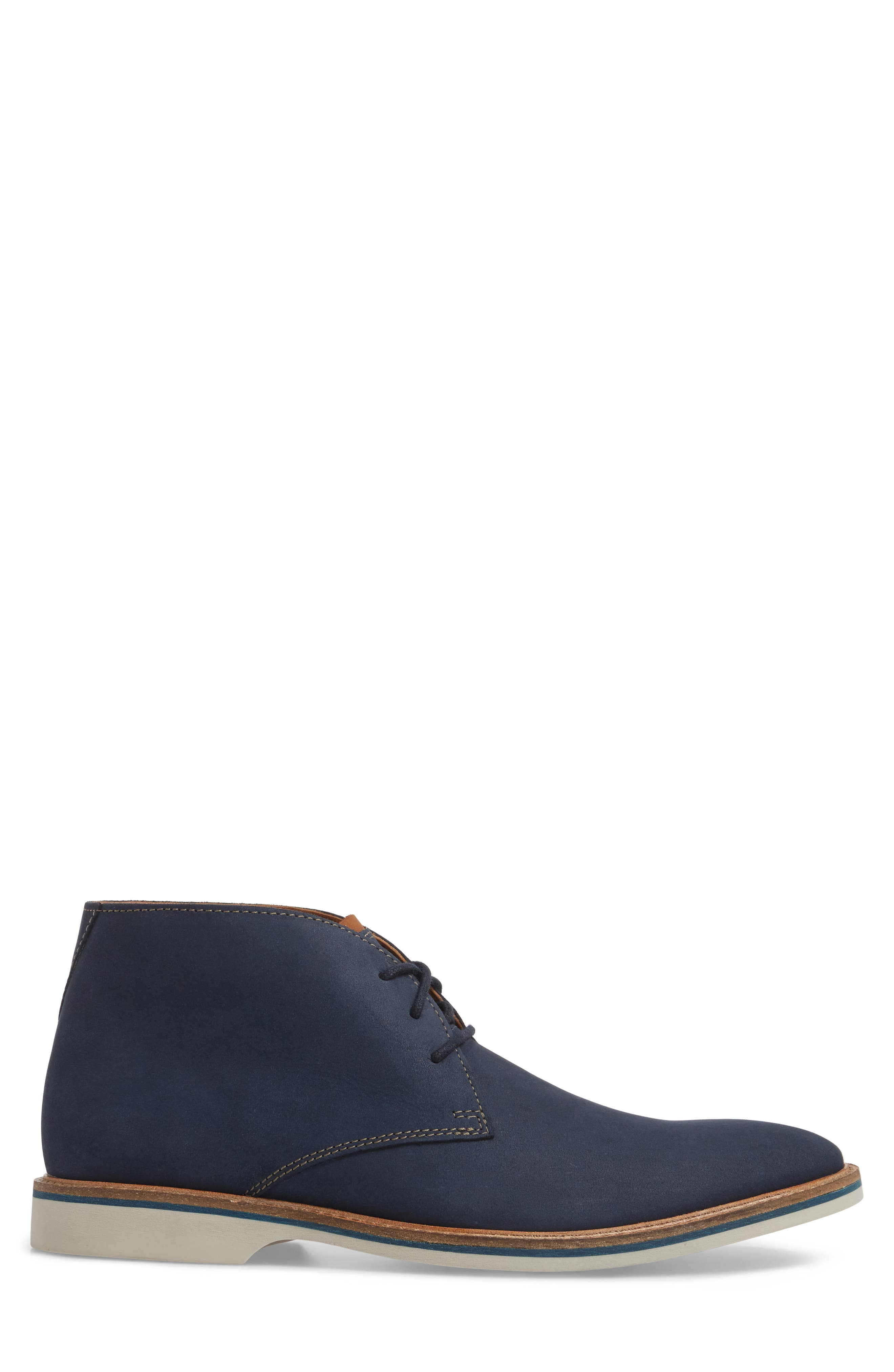 Clarks<sup>®</sup> Atticus Limit Chukka Boot,                             Alternate thumbnail 3, color,                             Navy Nubuck