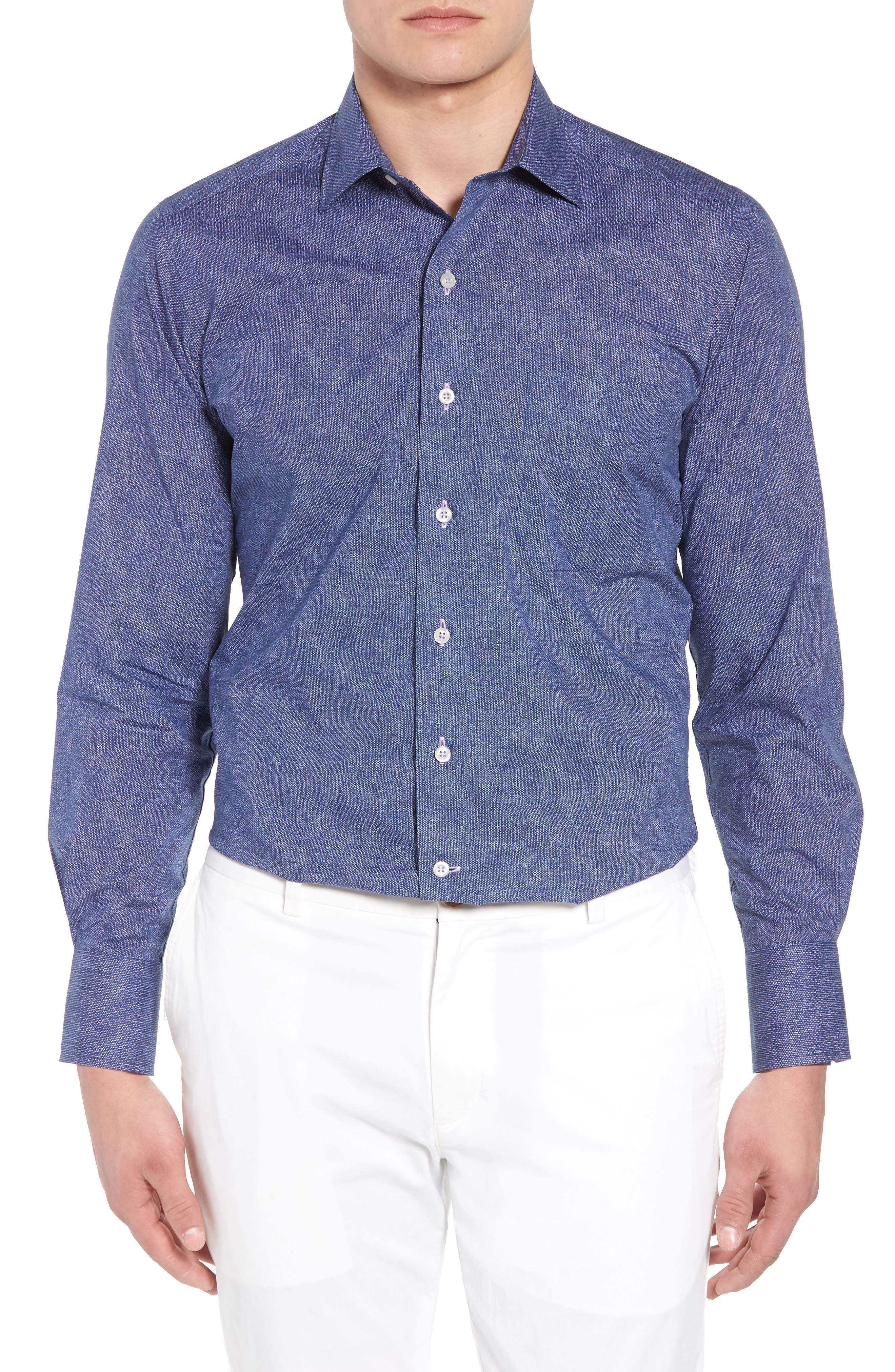 Regular Fit Microprint Sport Shirt,                             Main thumbnail 1, color,                             Navy/ Purple