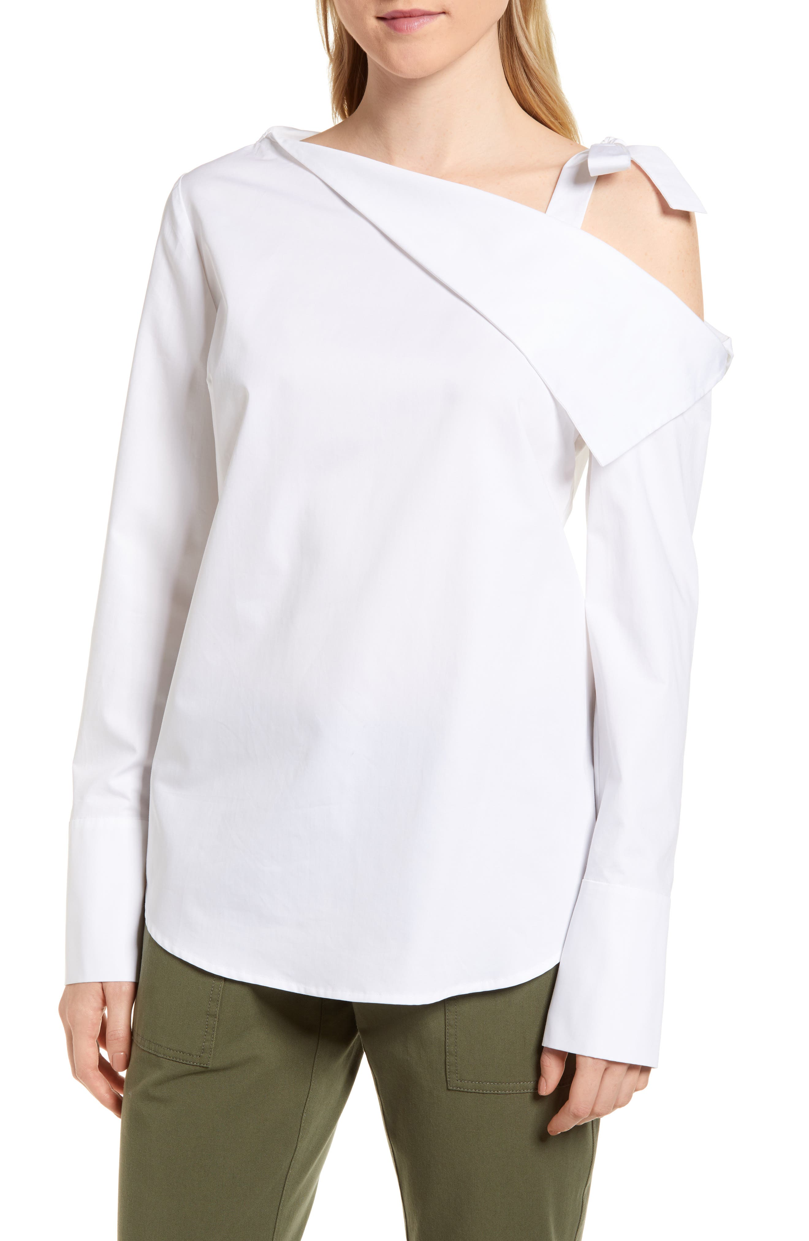 One-Shoulder Shirt,                             Main thumbnail 1, color,                             White