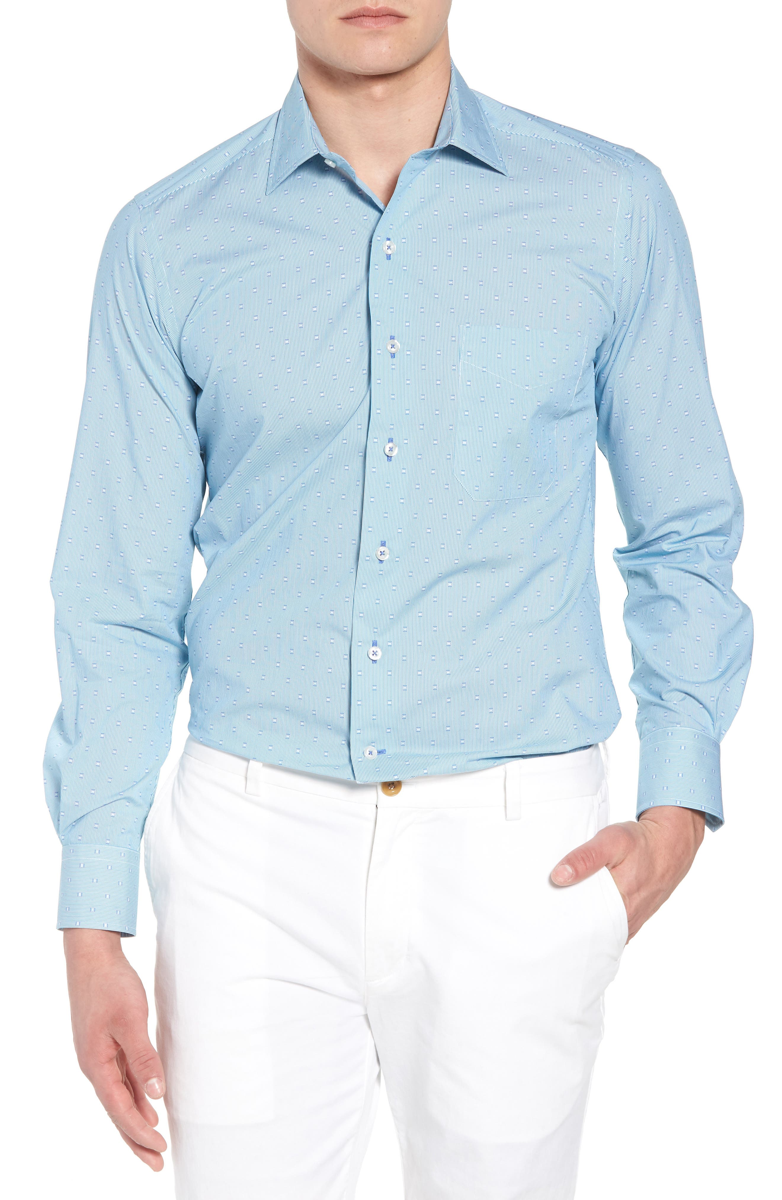David Donahue Regular Fit Fine Stripe Print Sport Shirt