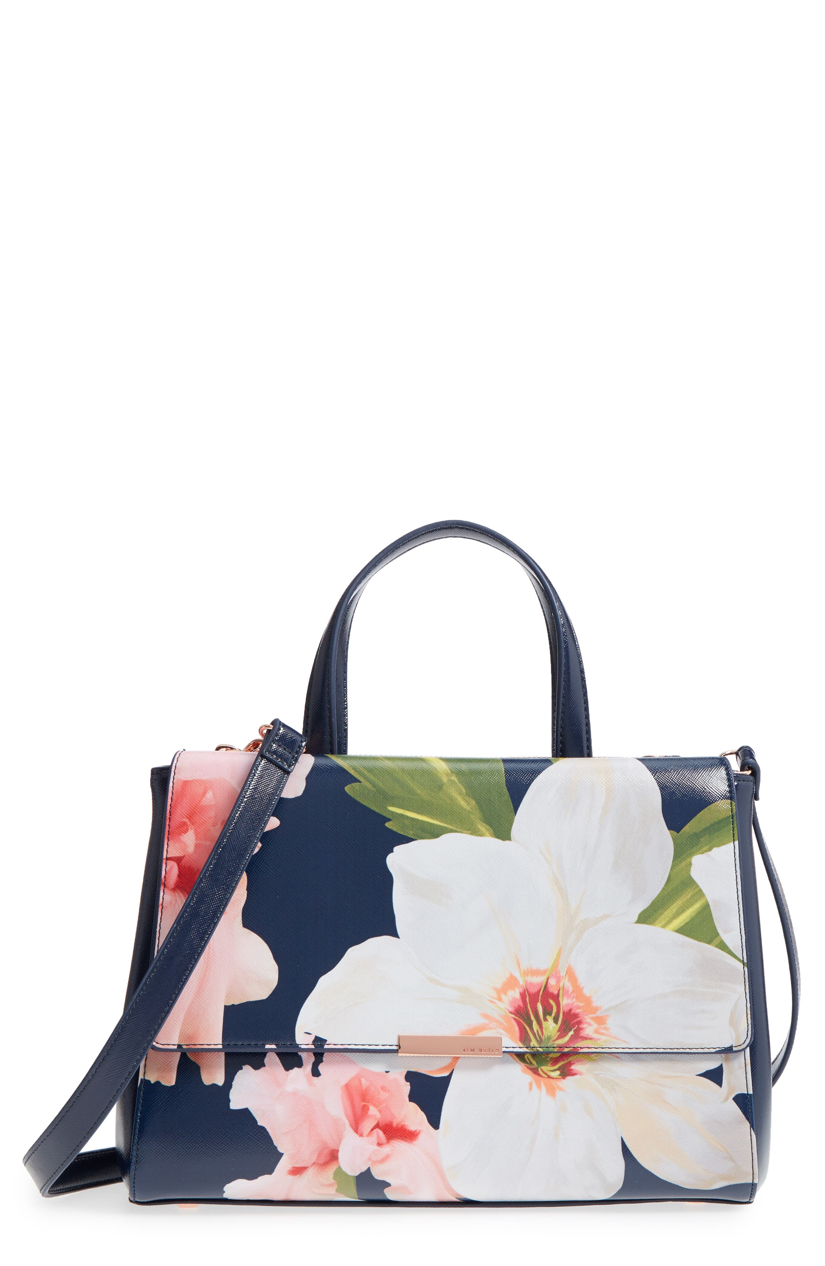 Peobe Chatsworth Bloom Faux Leather Satchel,                         Main,                         color, Navy