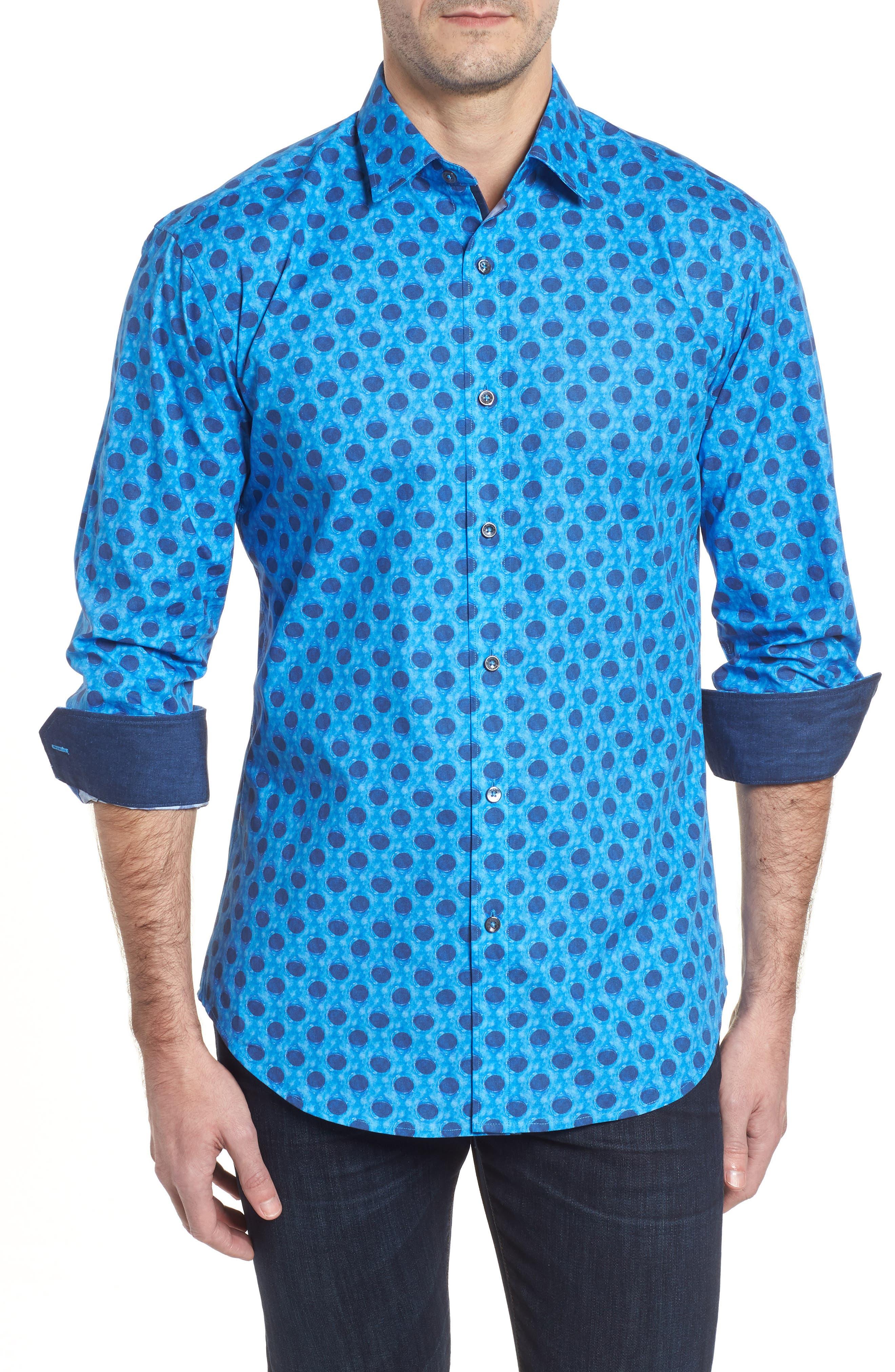 Shaped Fit Waning Moon Print Sport Shirt,                             Main thumbnail 1, color,                             Cobalt
