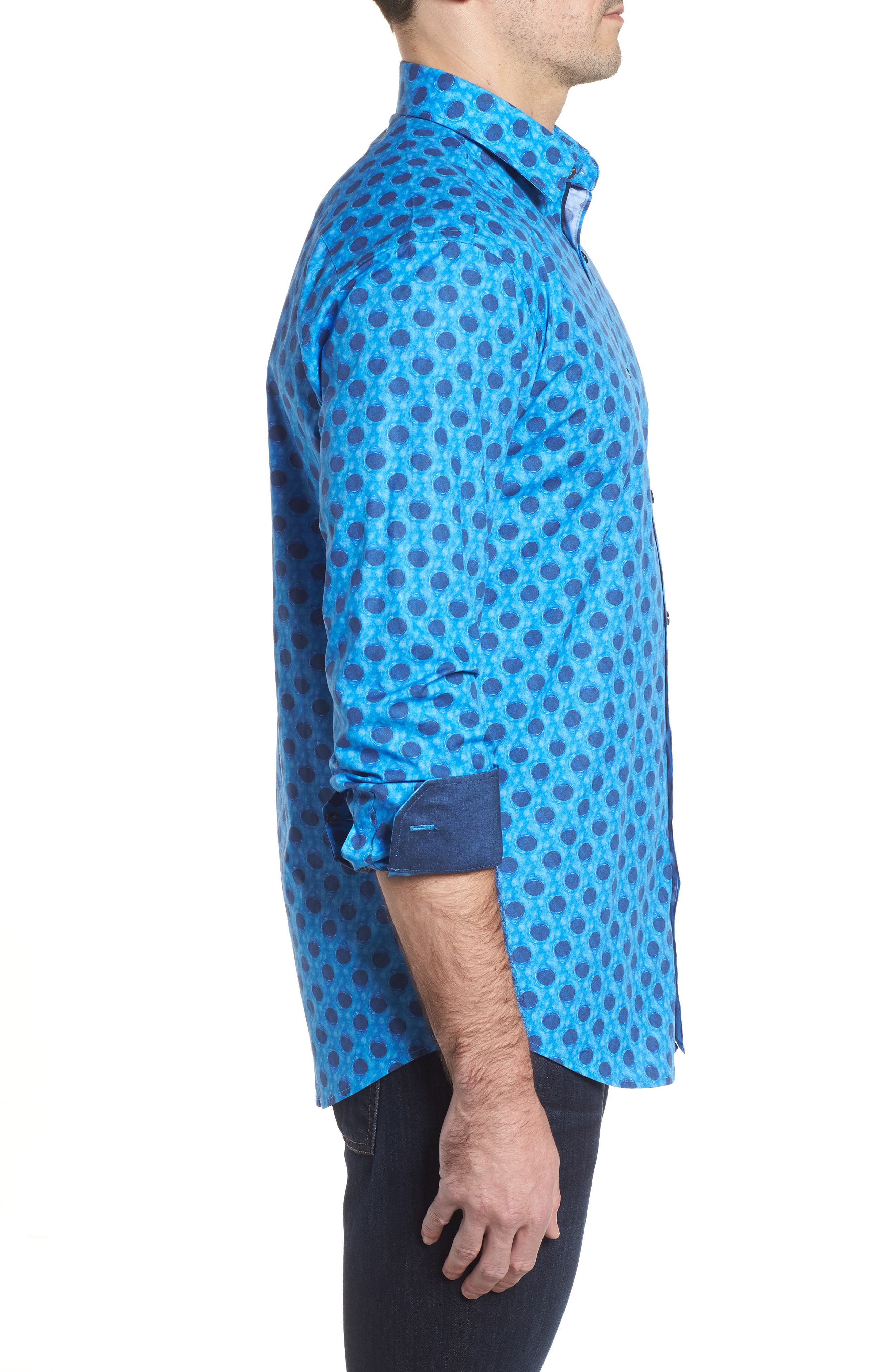 Shaped Fit Waning Moon Print Sport Shirt,                             Alternate thumbnail 3, color,                             Cobalt