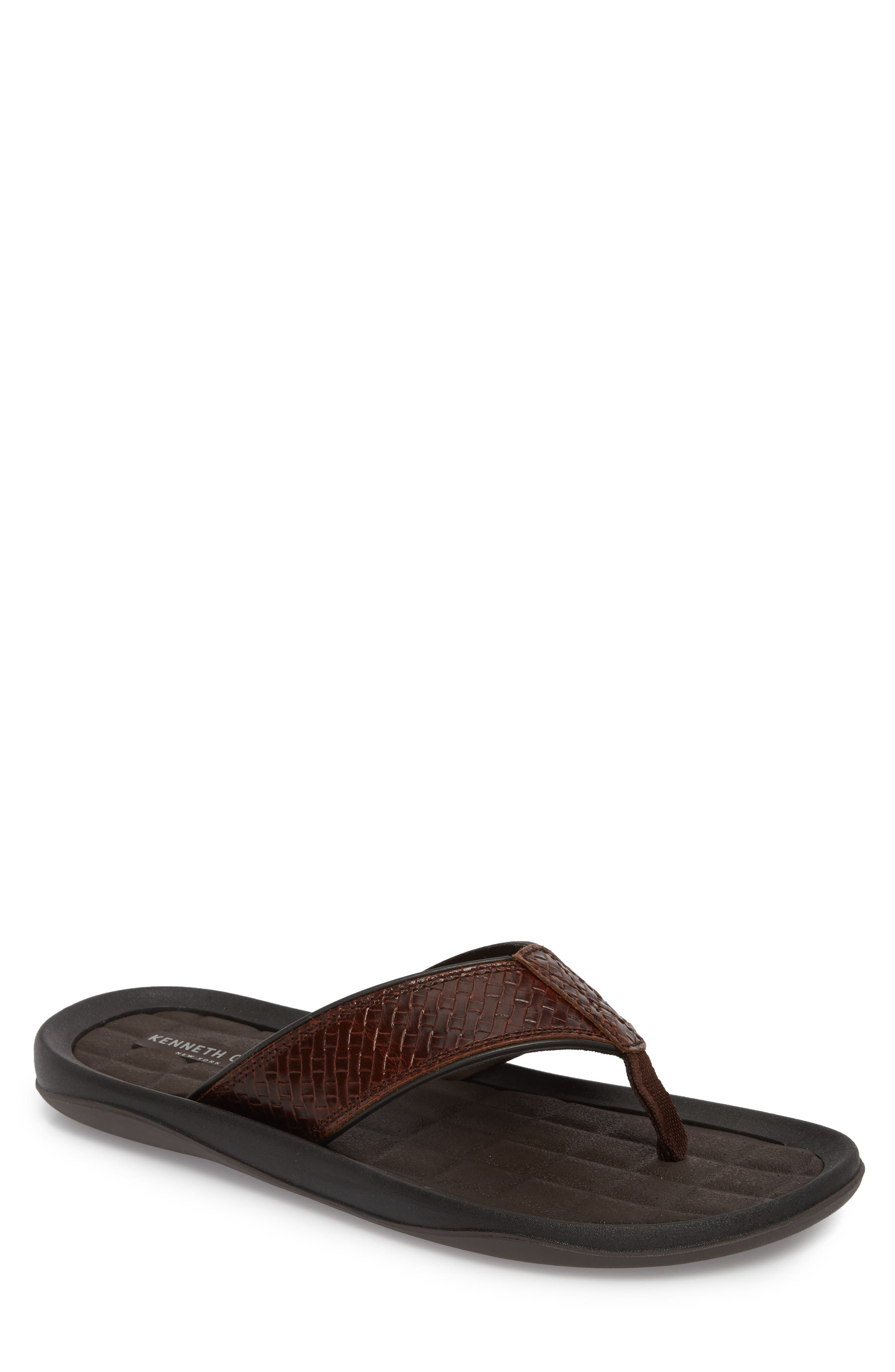 Izzo Embossed Flip Flop,                         Main,                         color, Brown Leather
