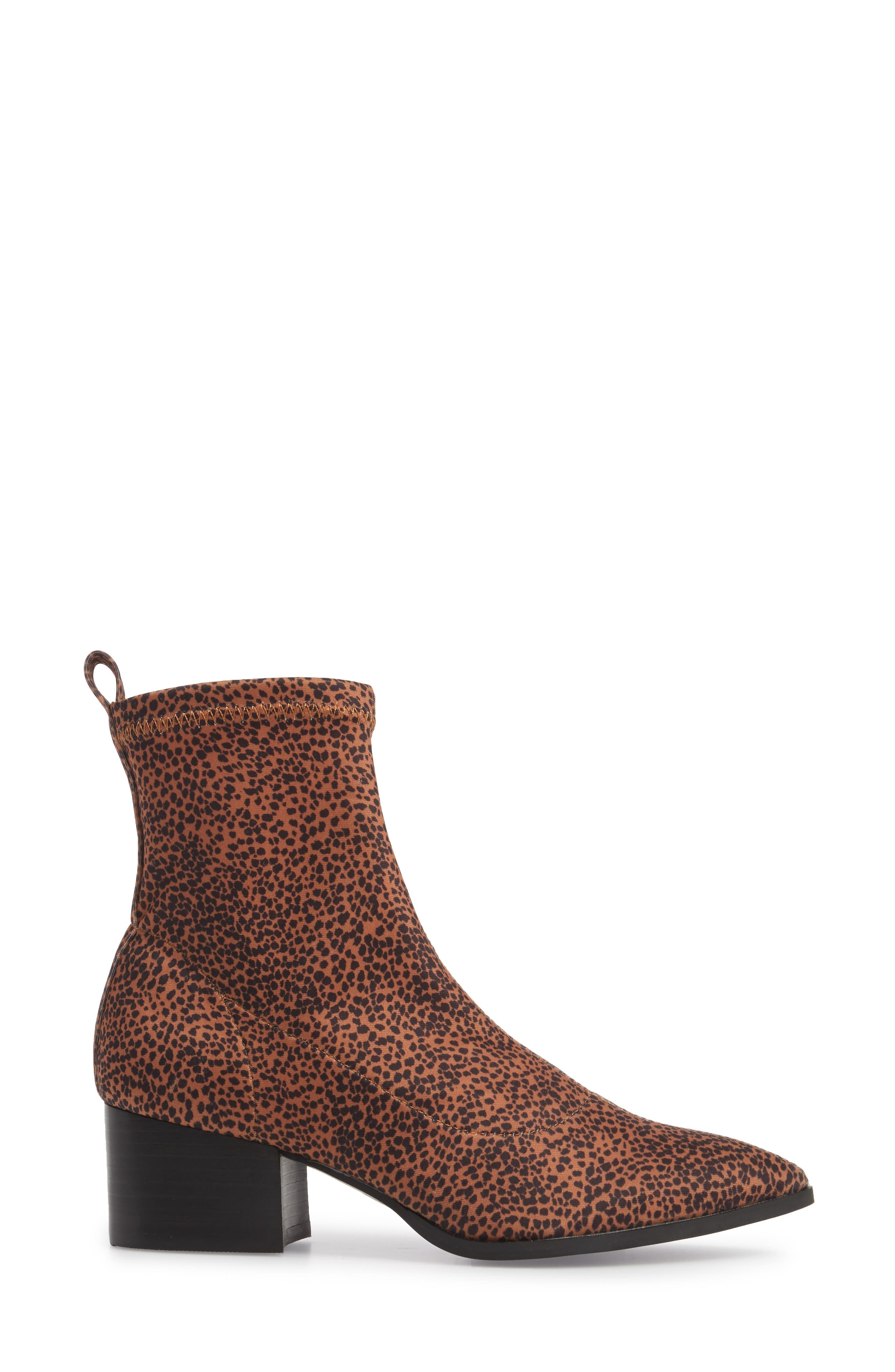 Amuse Society x Matisse Liliana Sock Bootie,                             Alternate thumbnail 3, color,                             Brown Stretch Fabric
