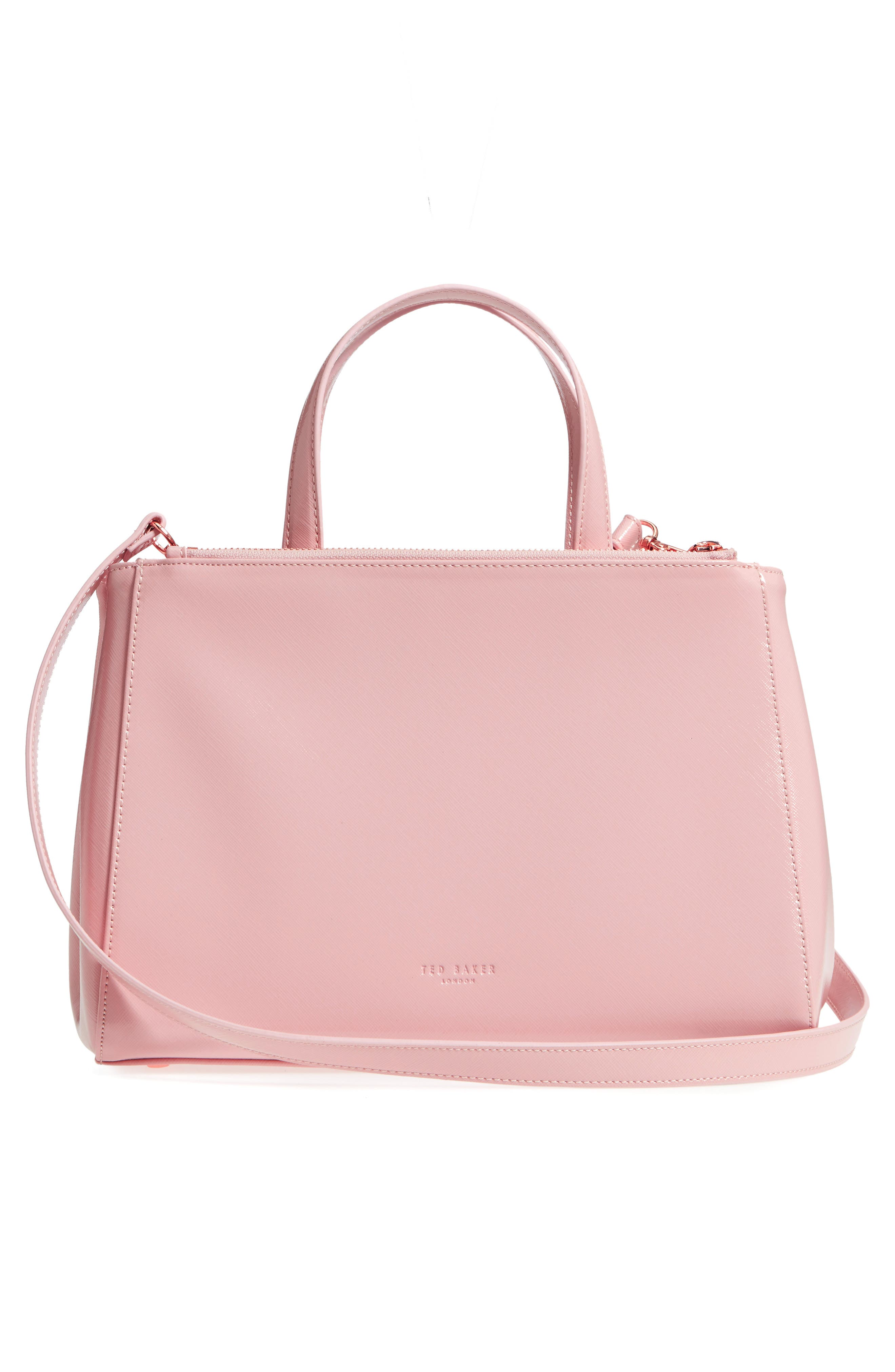 Tecoma Palace Gardens Faux Leather Tote,                             Alternate thumbnail 3, color,                             Dusky Pink
