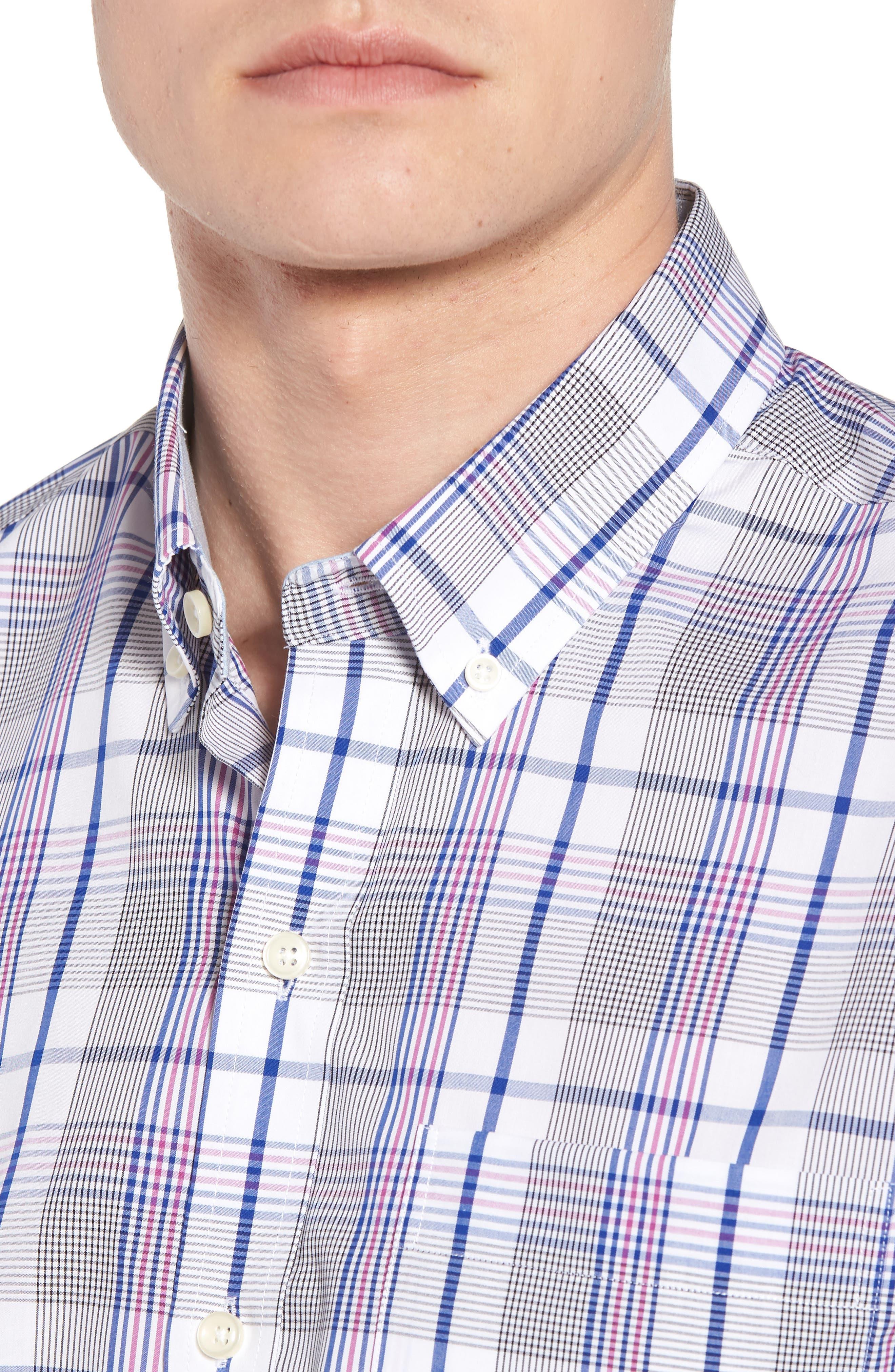 Aidan Non-Iron Plaid Sport Shirt,                             Alternate thumbnail 4, color,                             Bolt