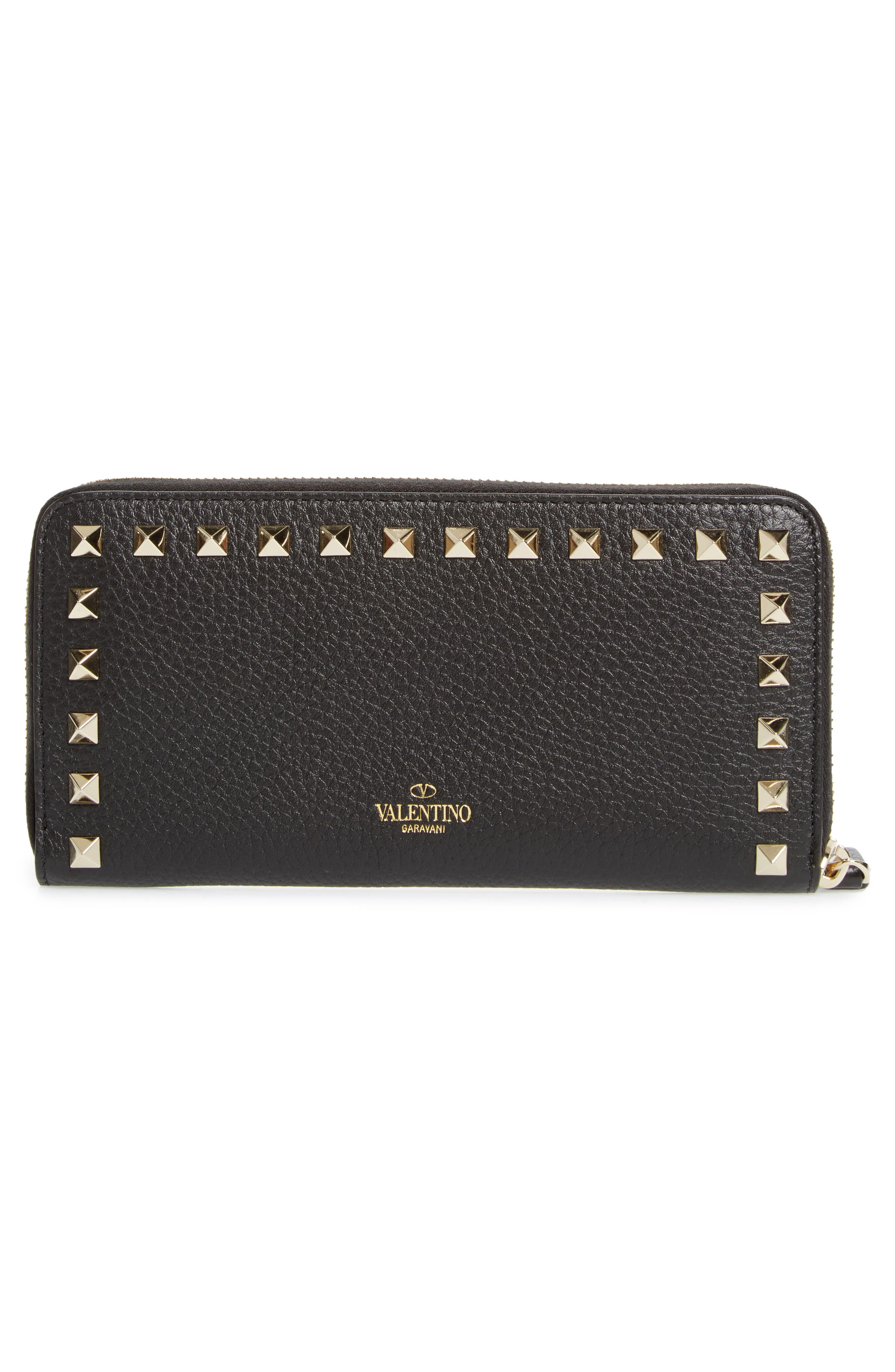 Rockstud Zip Around Leather Continental Wallet,                             Alternate thumbnail 4, color,                             Nero
