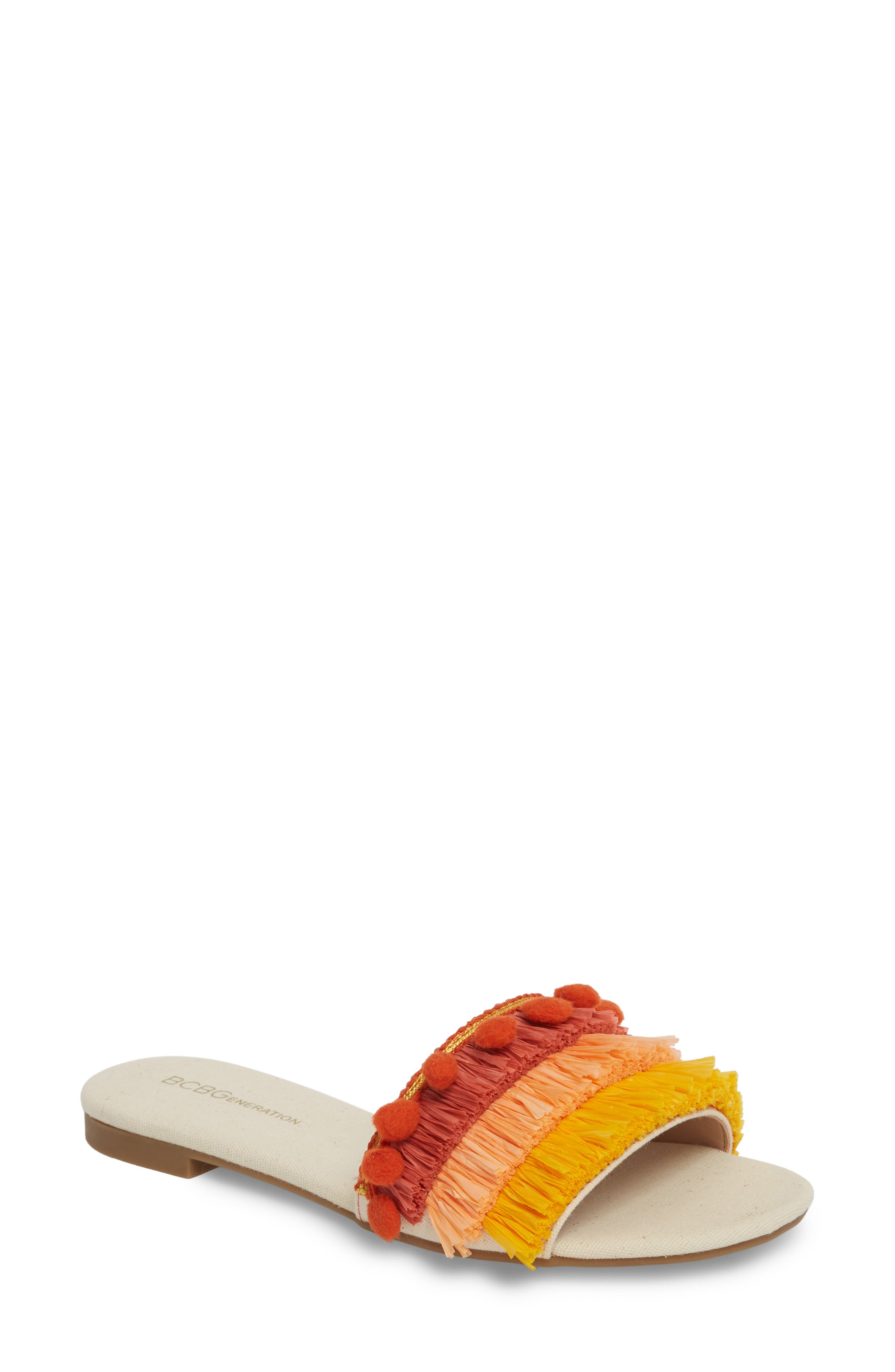 Genna Raffia Tier Slide Sandal,                             Main thumbnail 1, color,                             Marigold/ Rust