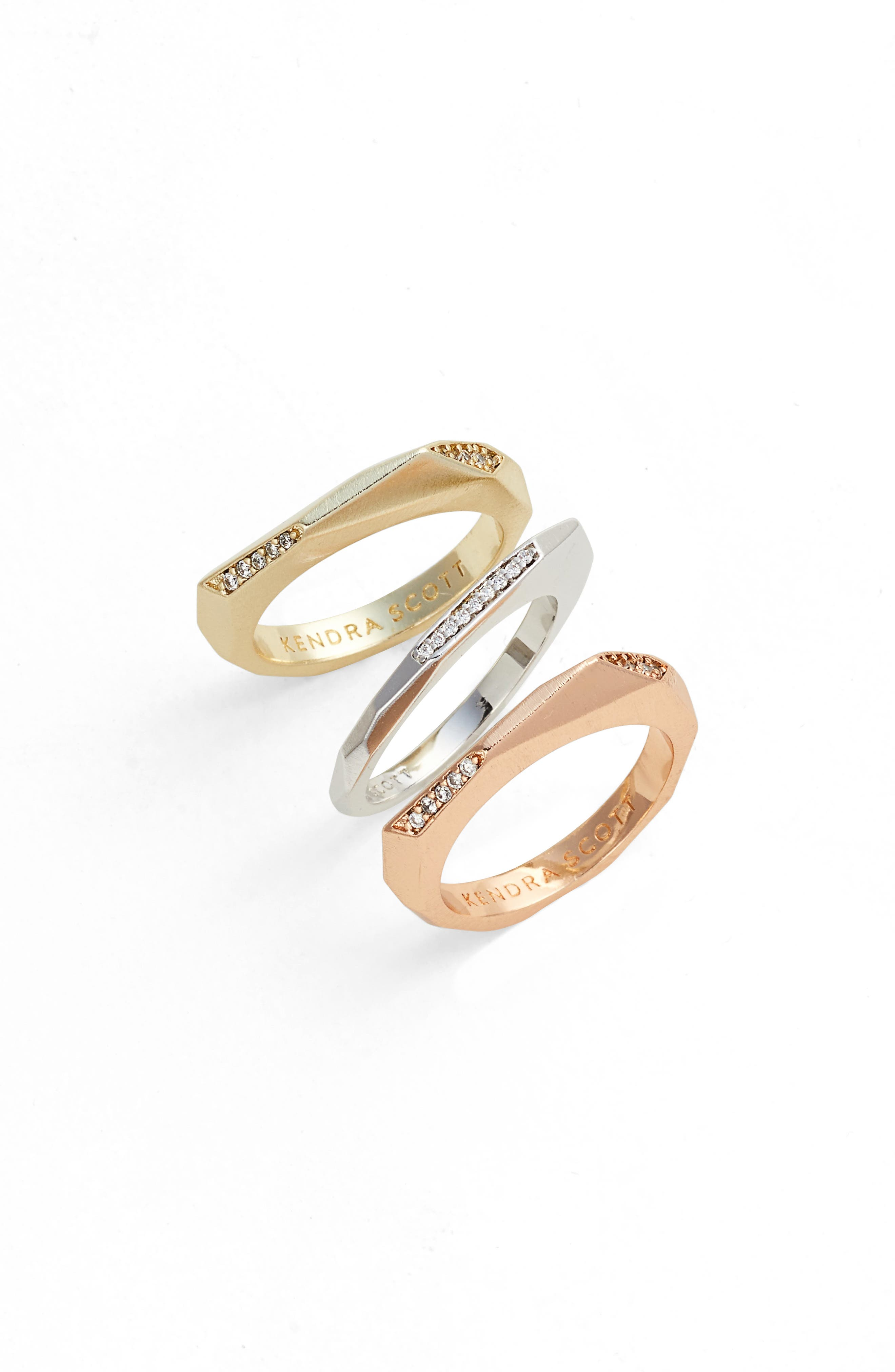 Joel Stackable Rings,                         Main,                         color, White Cz/ Mixed Metal