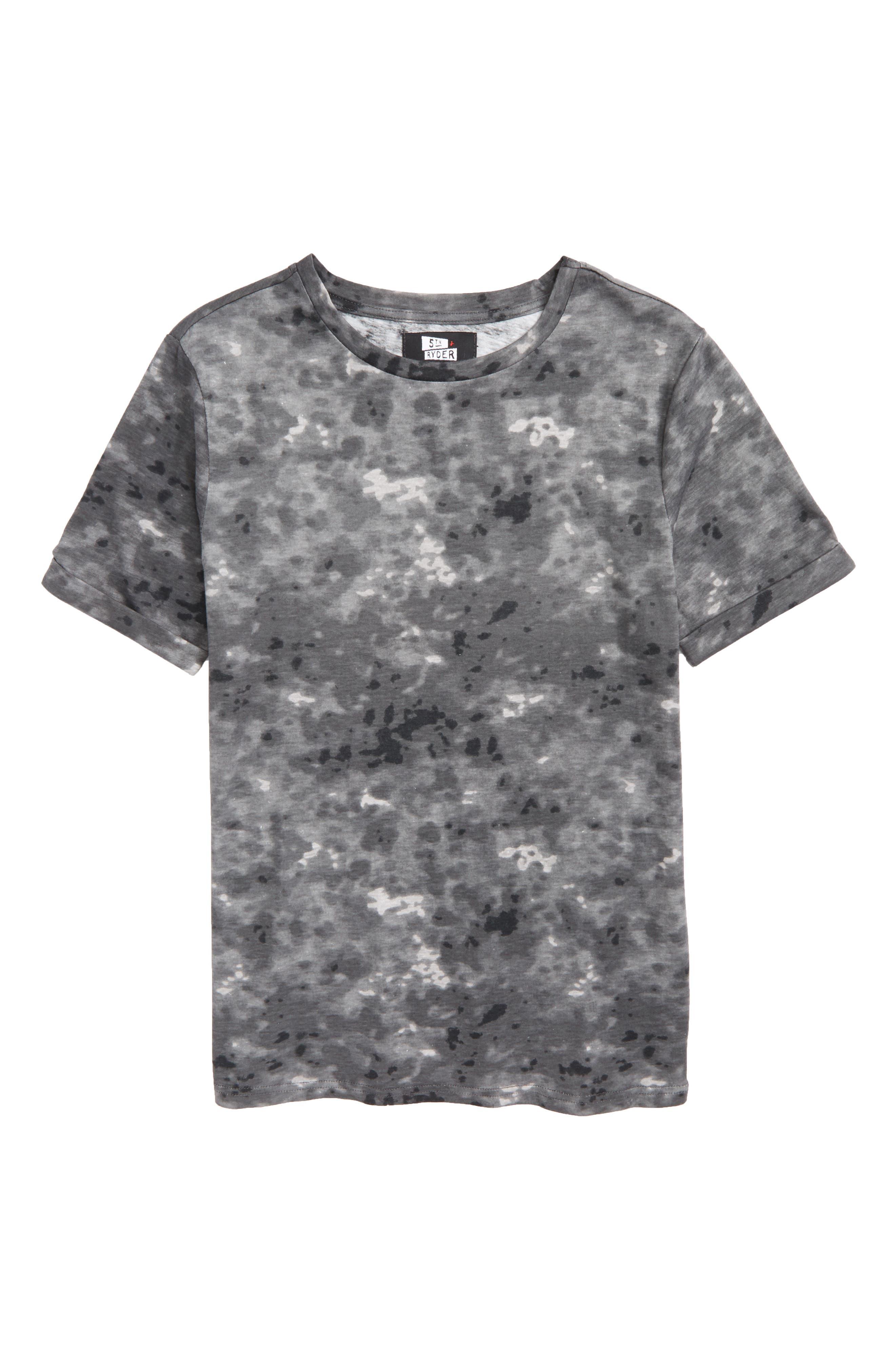 Rolled Cuff T-Shirt,                             Main thumbnail 1, color,                             Black Snow Wash Print