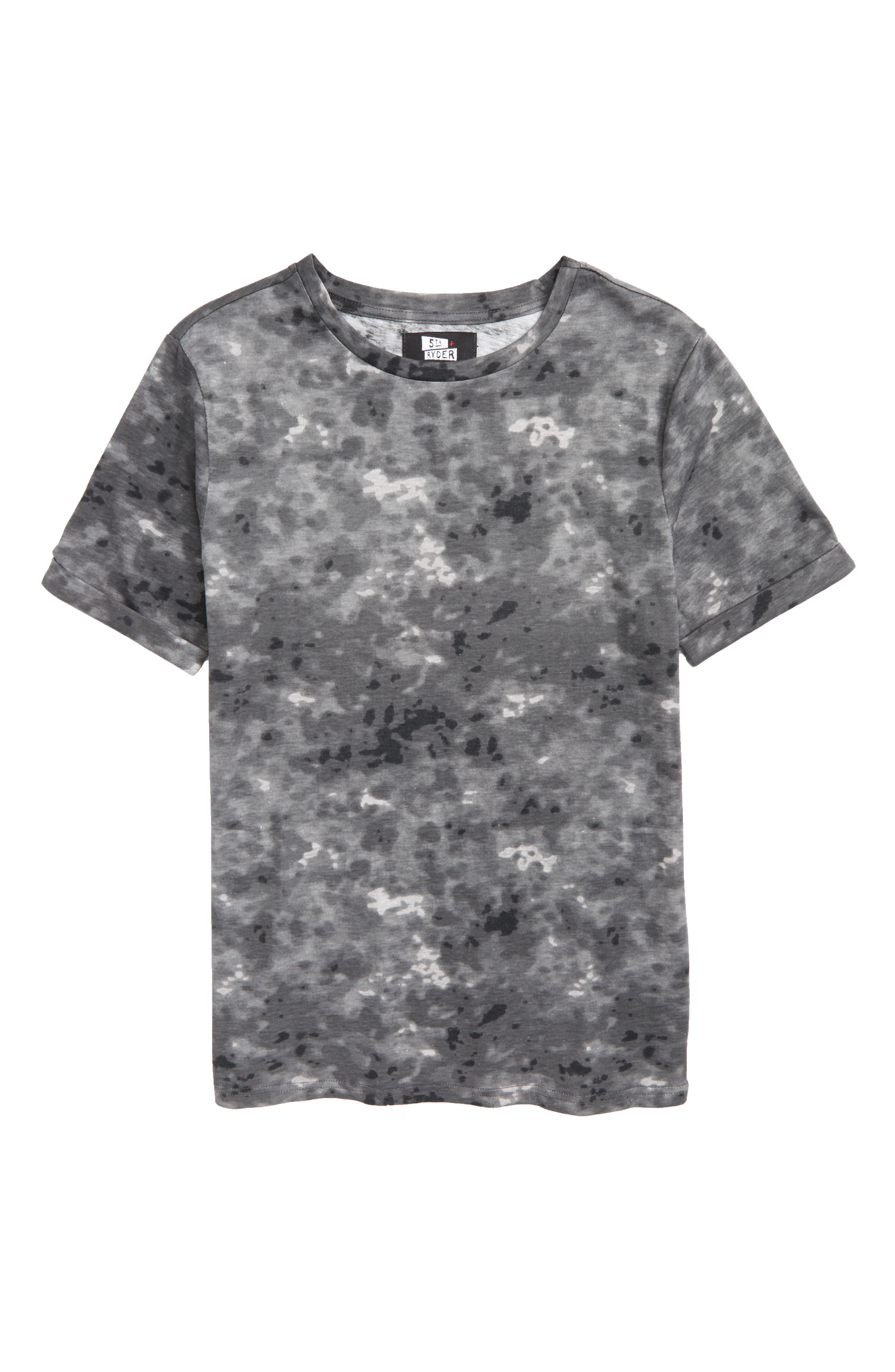 Rolled Cuff T-Shirt,                         Main,                         color, Black Snow Wash Print