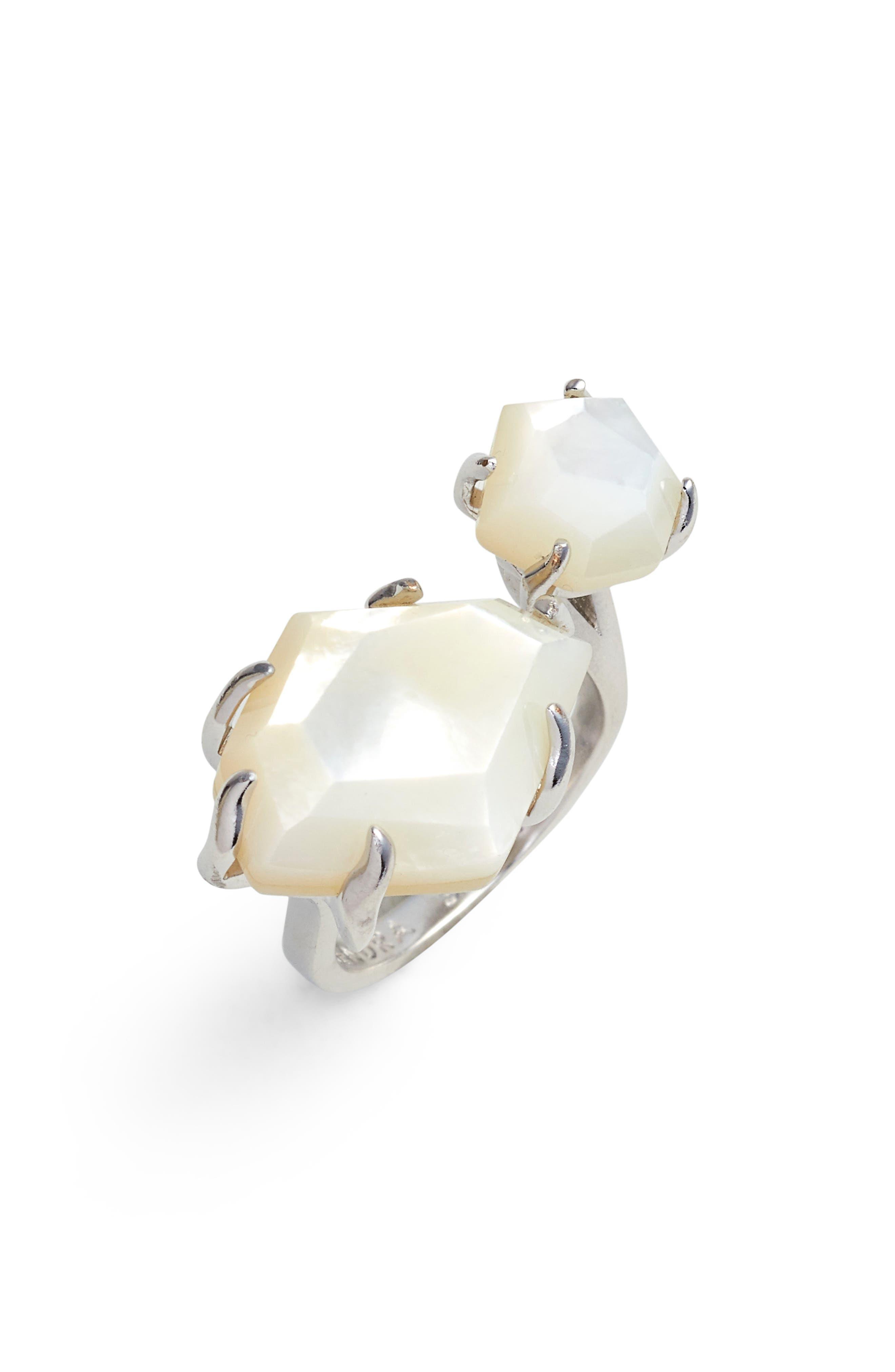 Kayla Stone Ring,                             Main thumbnail 1, color,                             Ivory Mop/ Silver