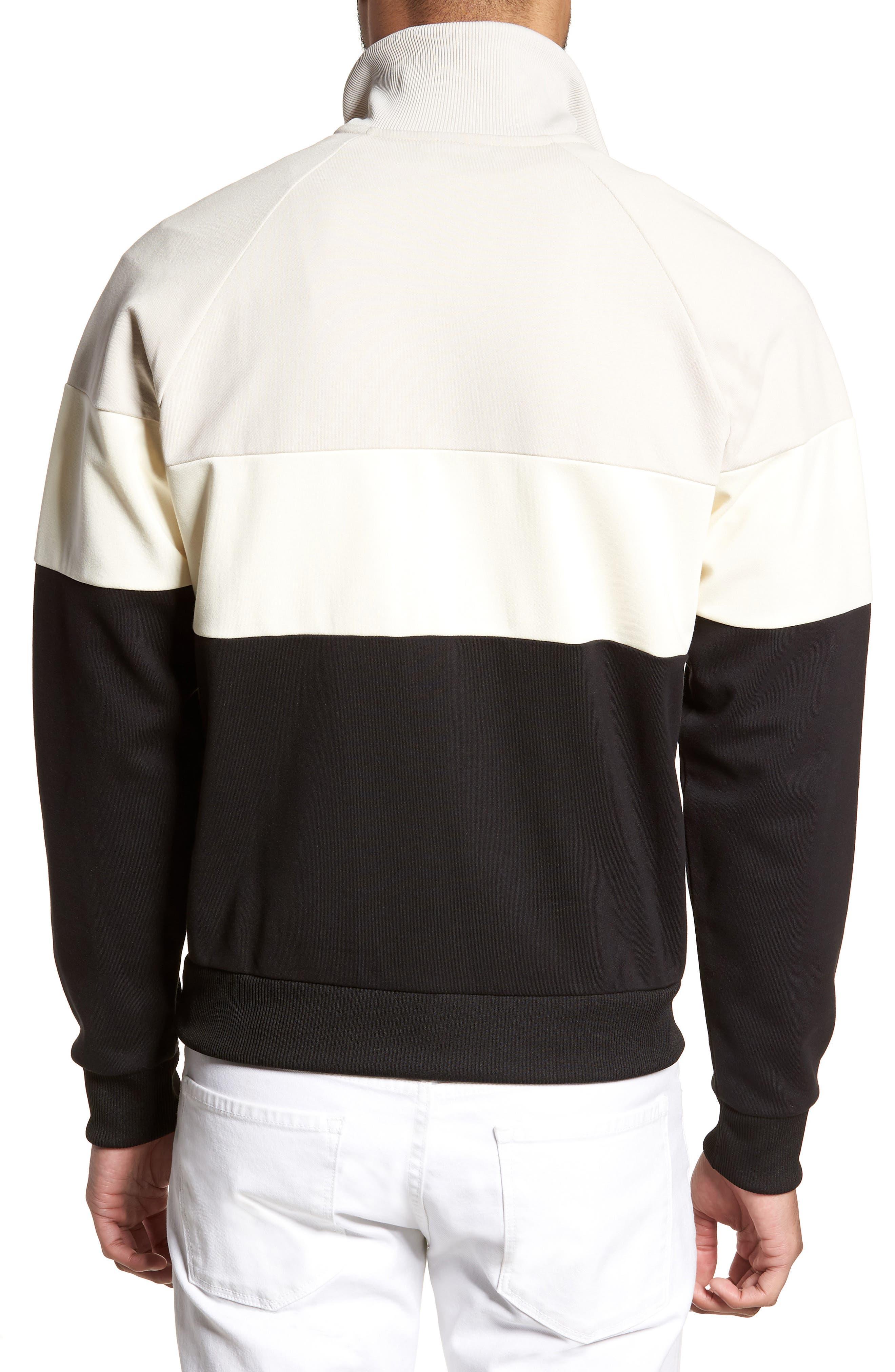 Embroidered Panel Quarter Zip Pullover,                             Alternate thumbnail 2, color,                             Black