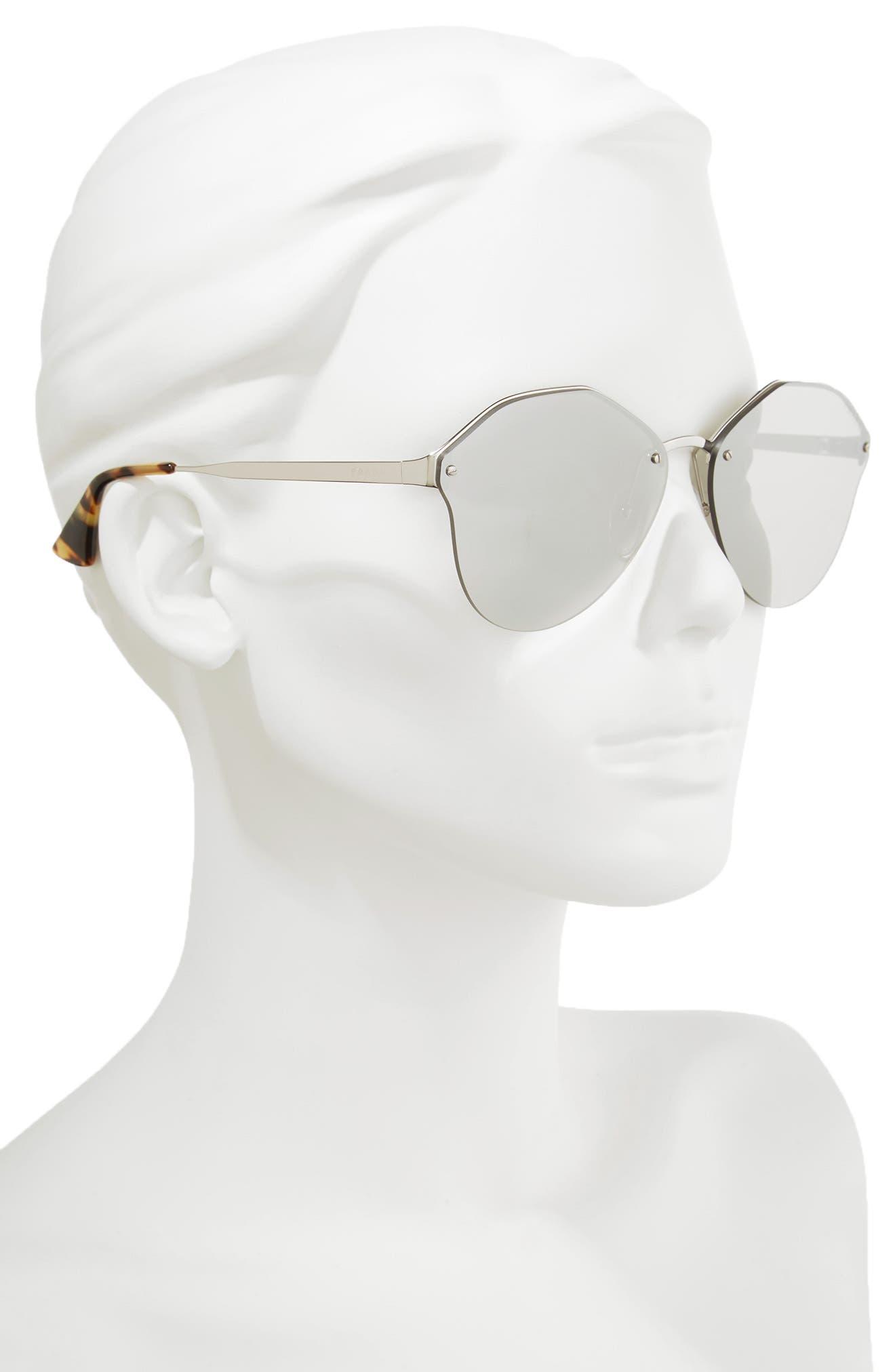 66mm Oversize Rimless Sunglasses,                             Alternate thumbnail 2, color,                             Brown Mirror