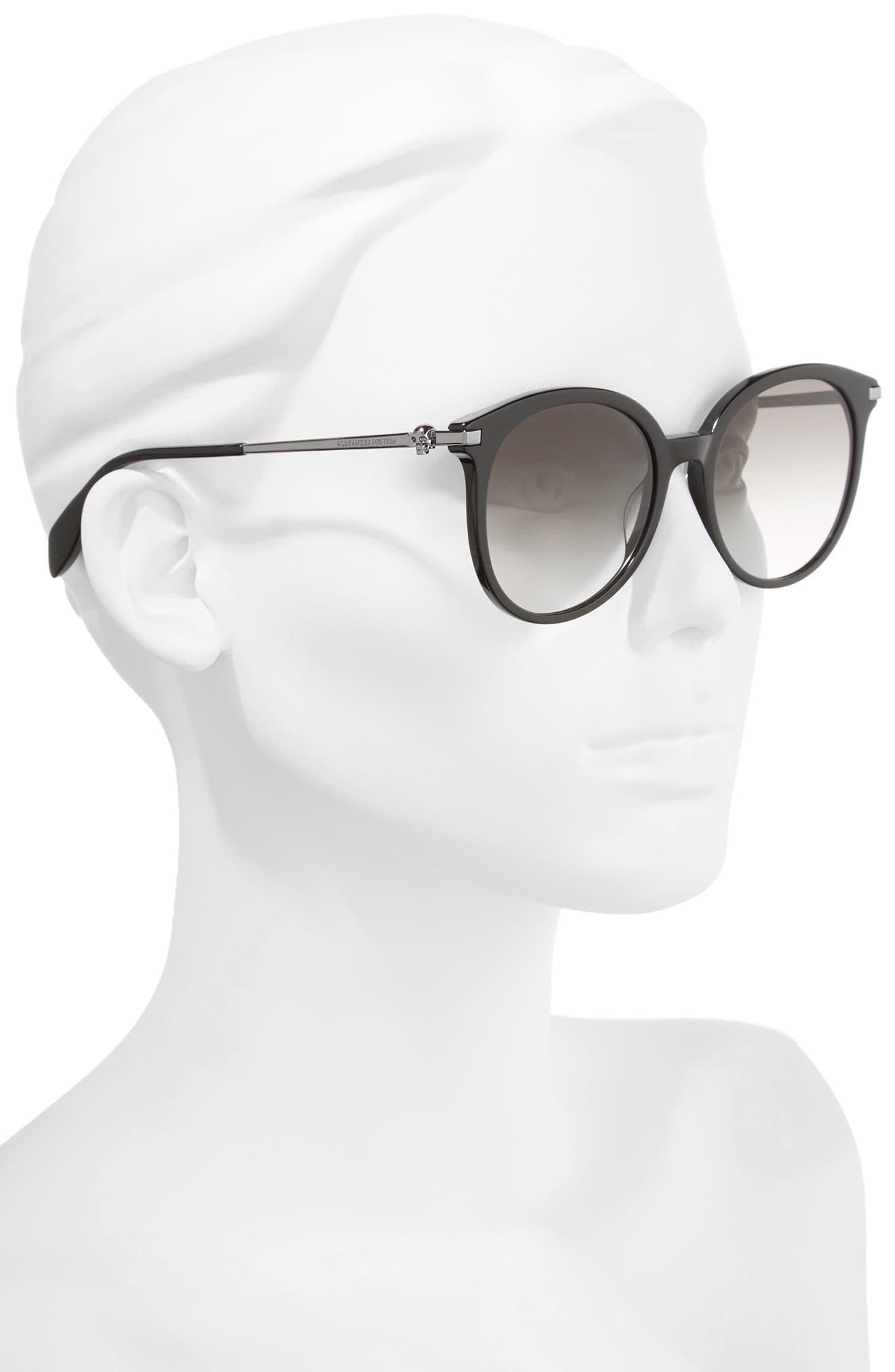 54mm Gradient Lens Round Sunglasses,                             Alternate thumbnail 2, color,                             Dark Ruthenium/ Black