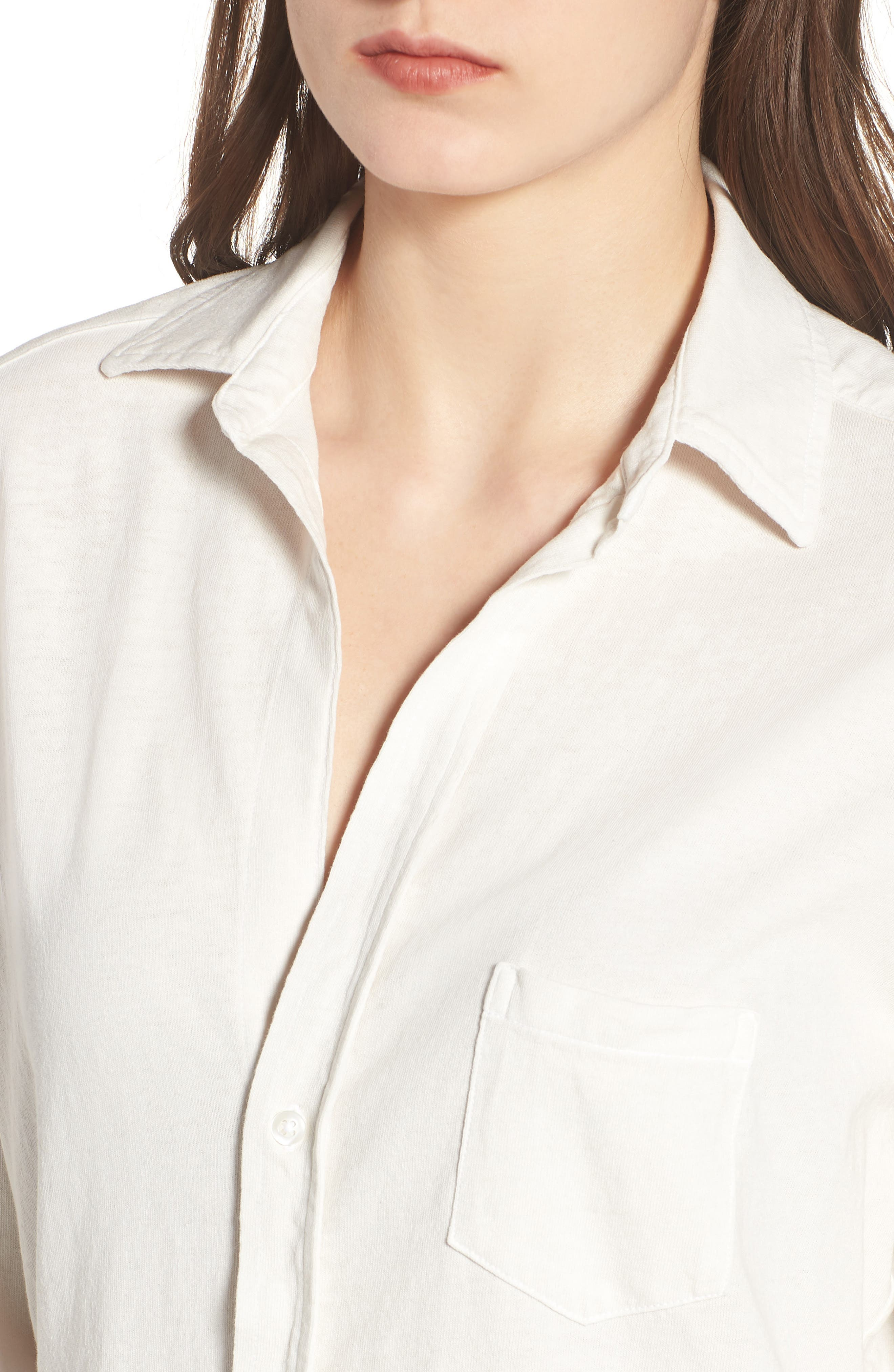 Eileen Jersey Button Front Shirt,                             Alternate thumbnail 4, color,                             Vintage White