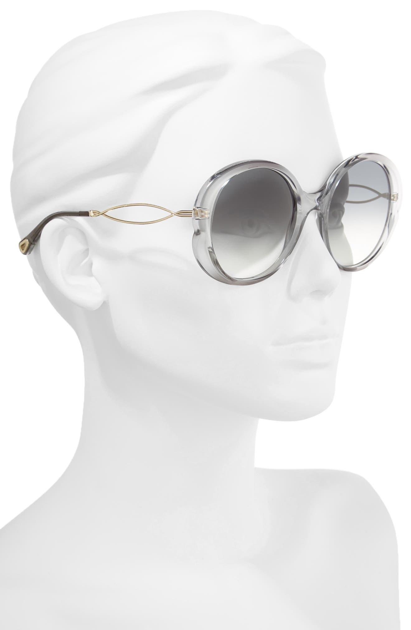 Petal 57mm Gradient Round Sunglasses,                             Alternate thumbnail 2, color,                             Grey/ Light Grey