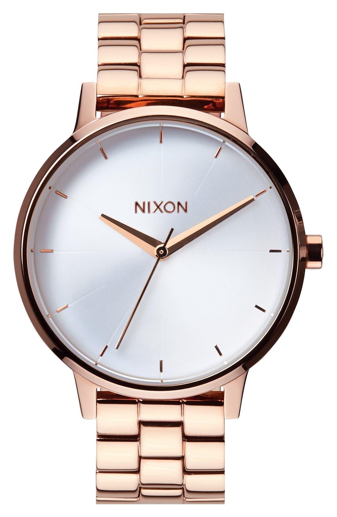 NIXON 'The Kensington' Bracelet Watch, 37Mm in Rose Gold/ White