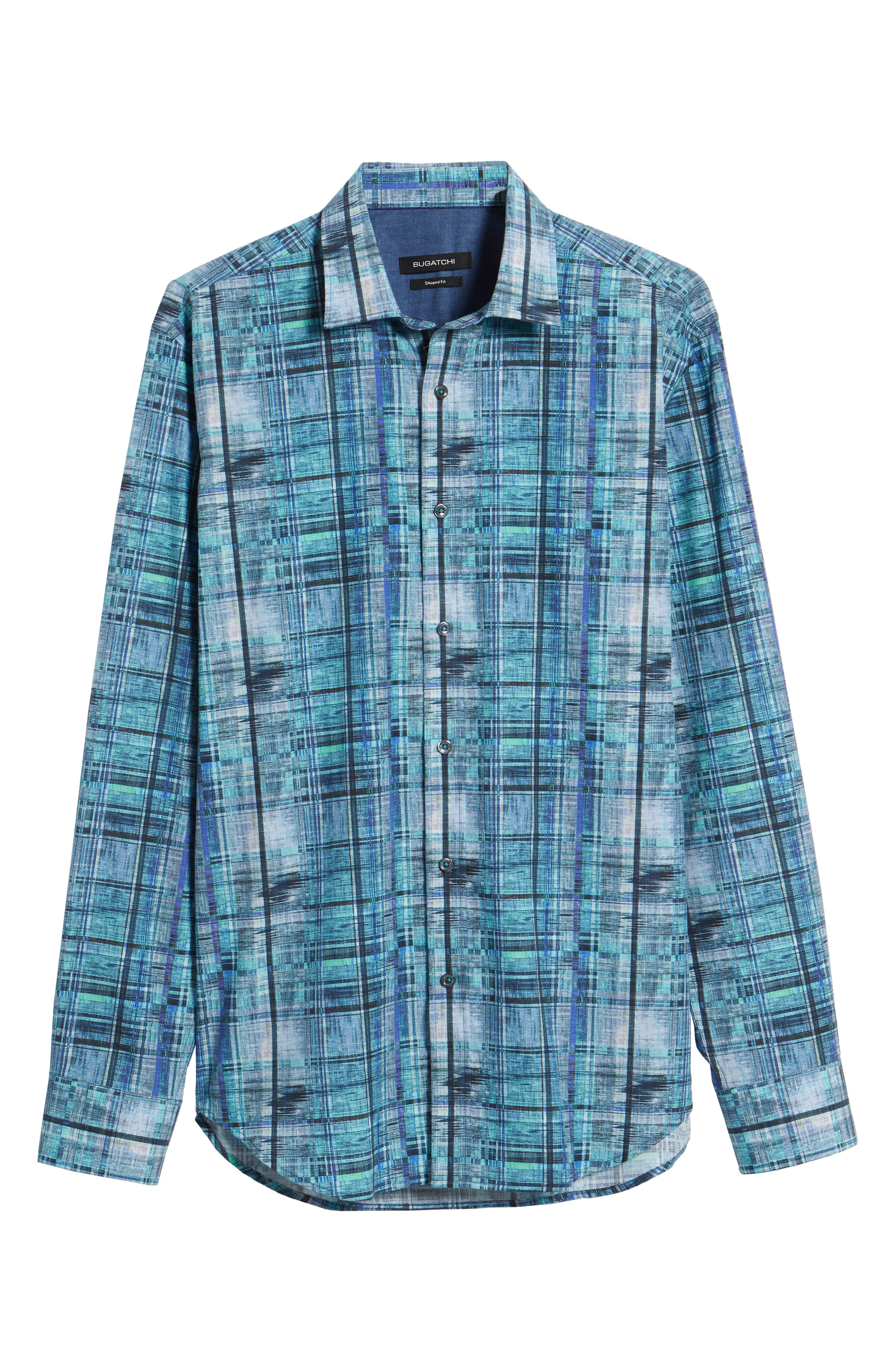 Shaped Fit Distressed Check Sport Shirt,                             Alternate thumbnail 6, color,                             Turquoise