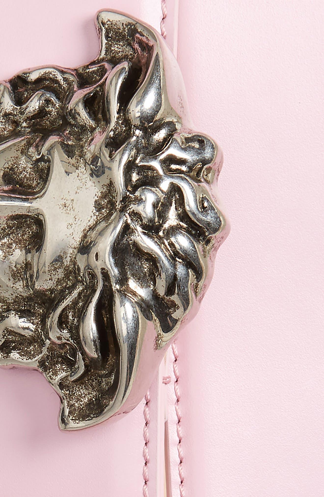 Medusa Head Leather Belt,                             Alternate thumbnail 2, color,                             Powder Pink-Antiqued