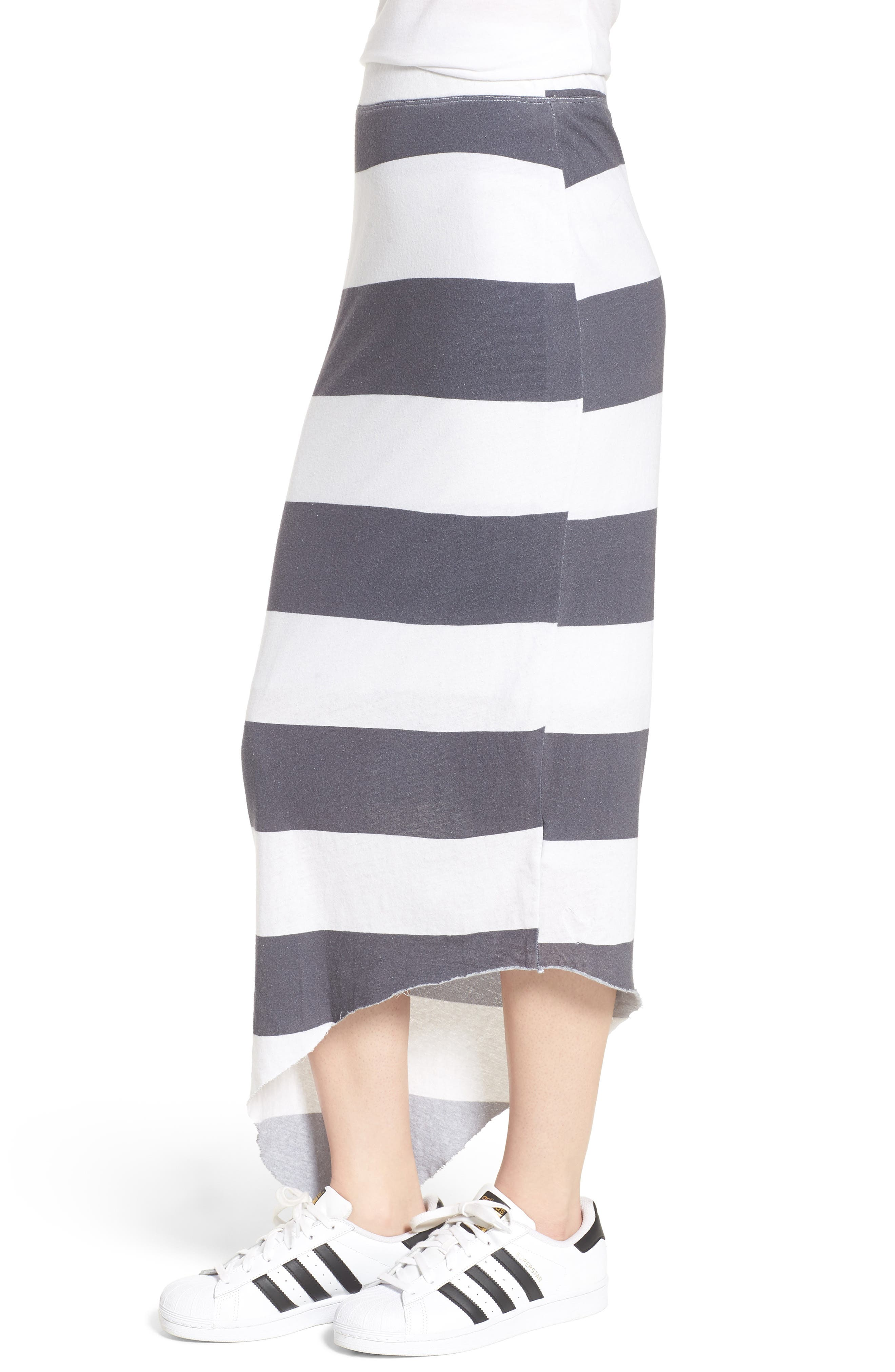 Stripe Asymmetrical Skirt,                             Alternate thumbnail 3, color,                             Carbon Rugby