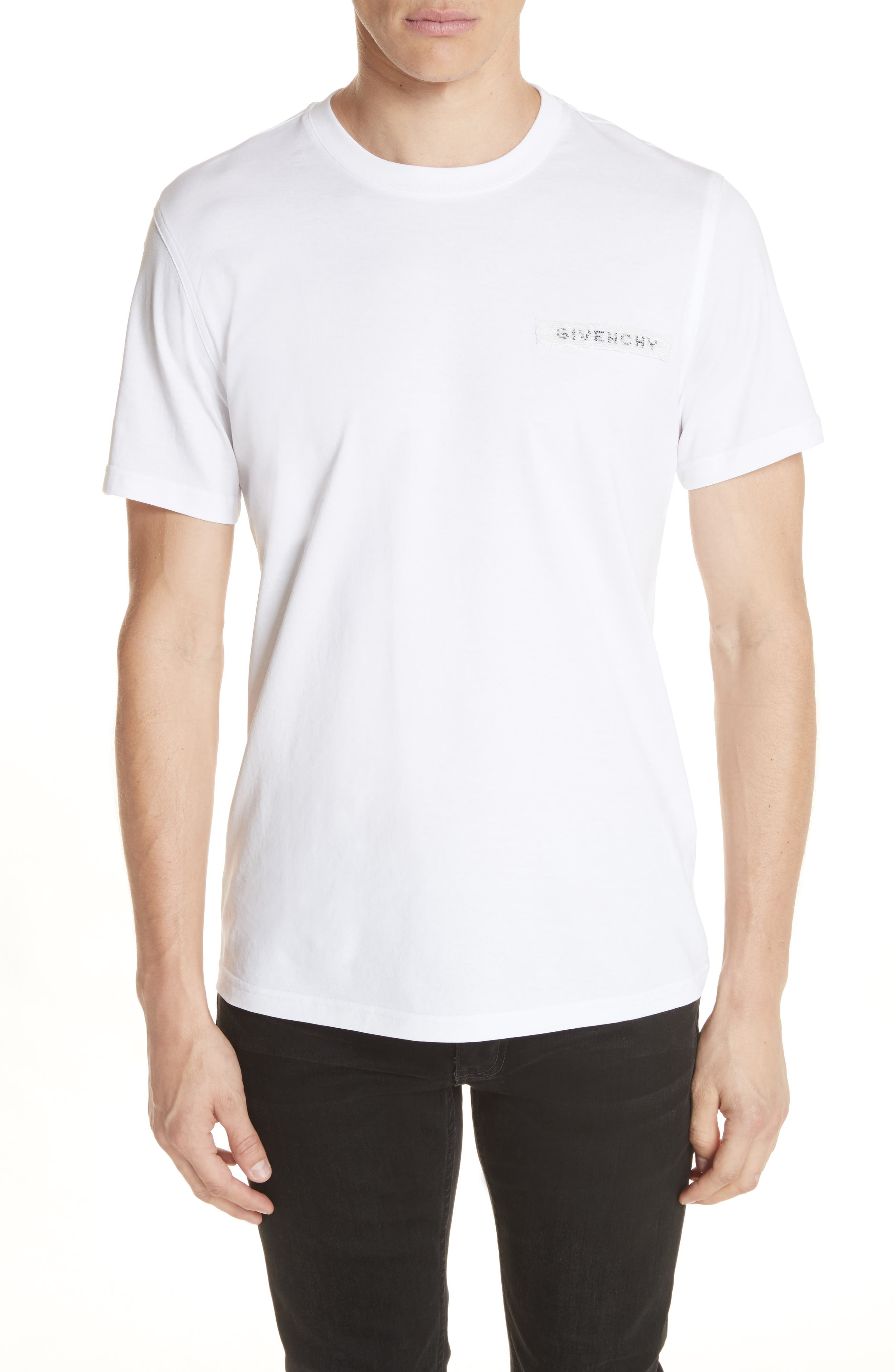 Sequin Logo T-Shirt,                         Main,                         color, White