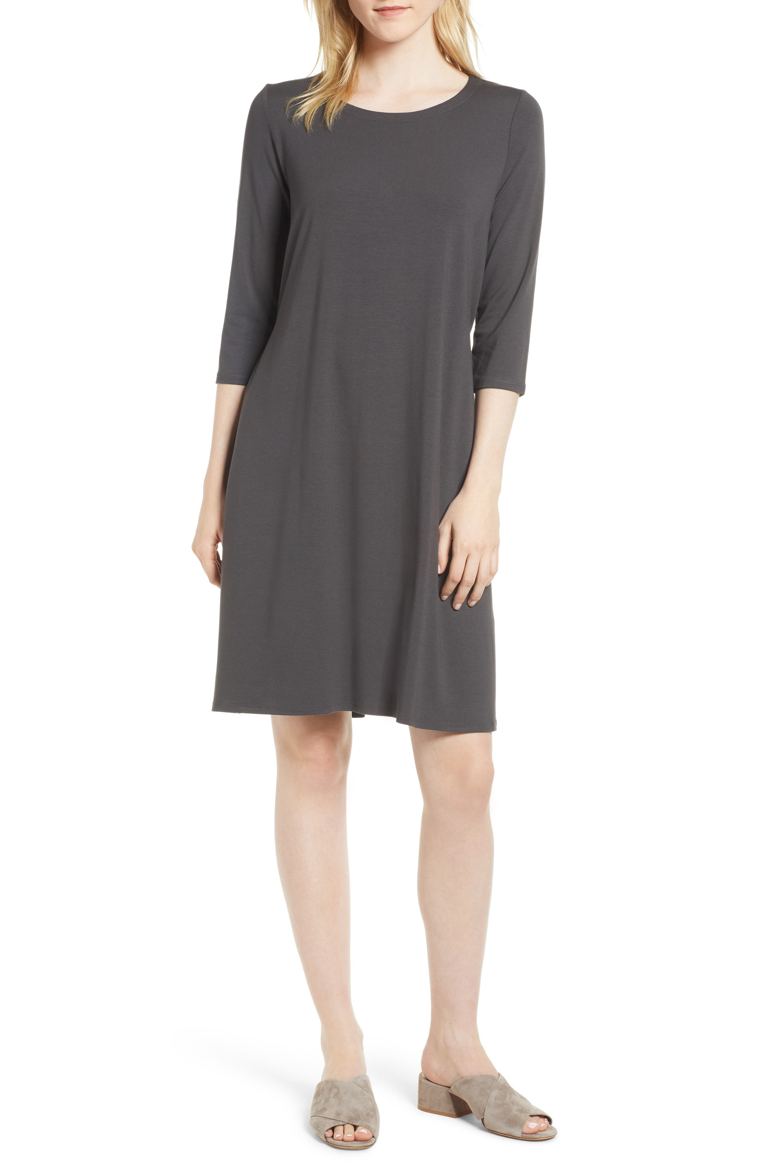 Alternate Image 1 Selected - Eileen Fisher Tie Back Dress (Regular & Petite)