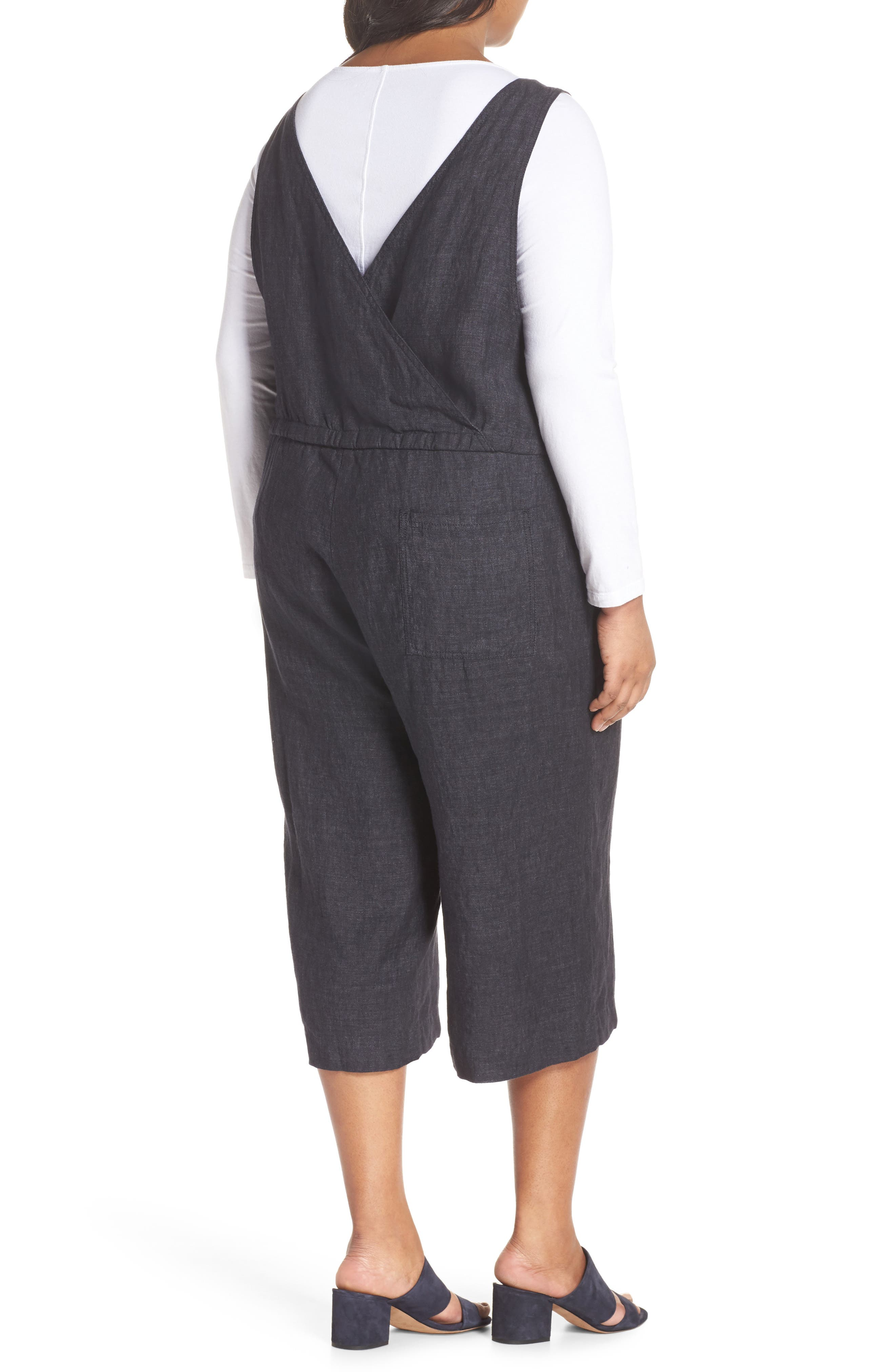 Wide Crop Linen Overalls,                             Alternate thumbnail 2, color,                             Denim