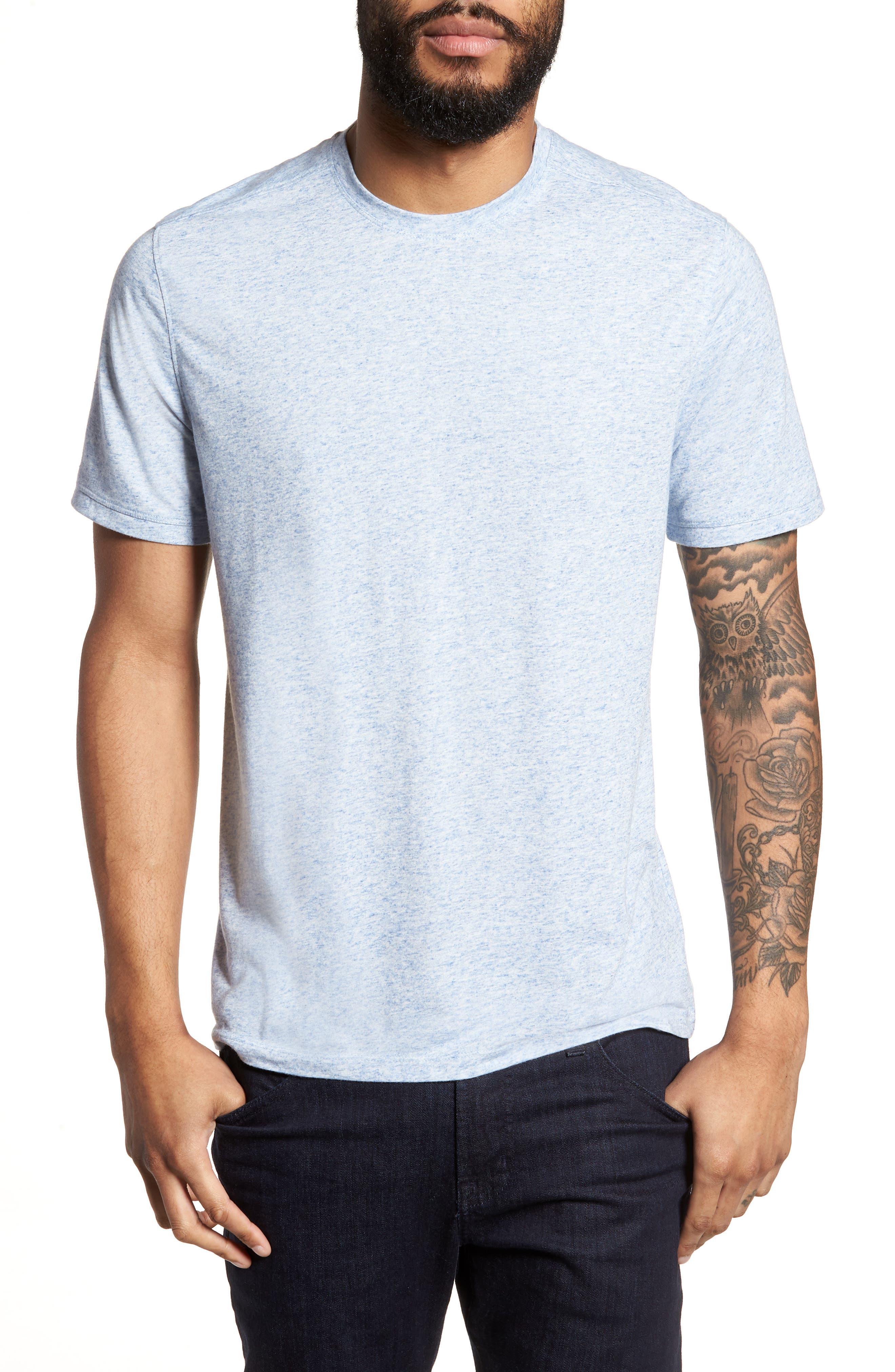 Crewneck T-Shirt,                         Main,                         color, Blue Lake Heather