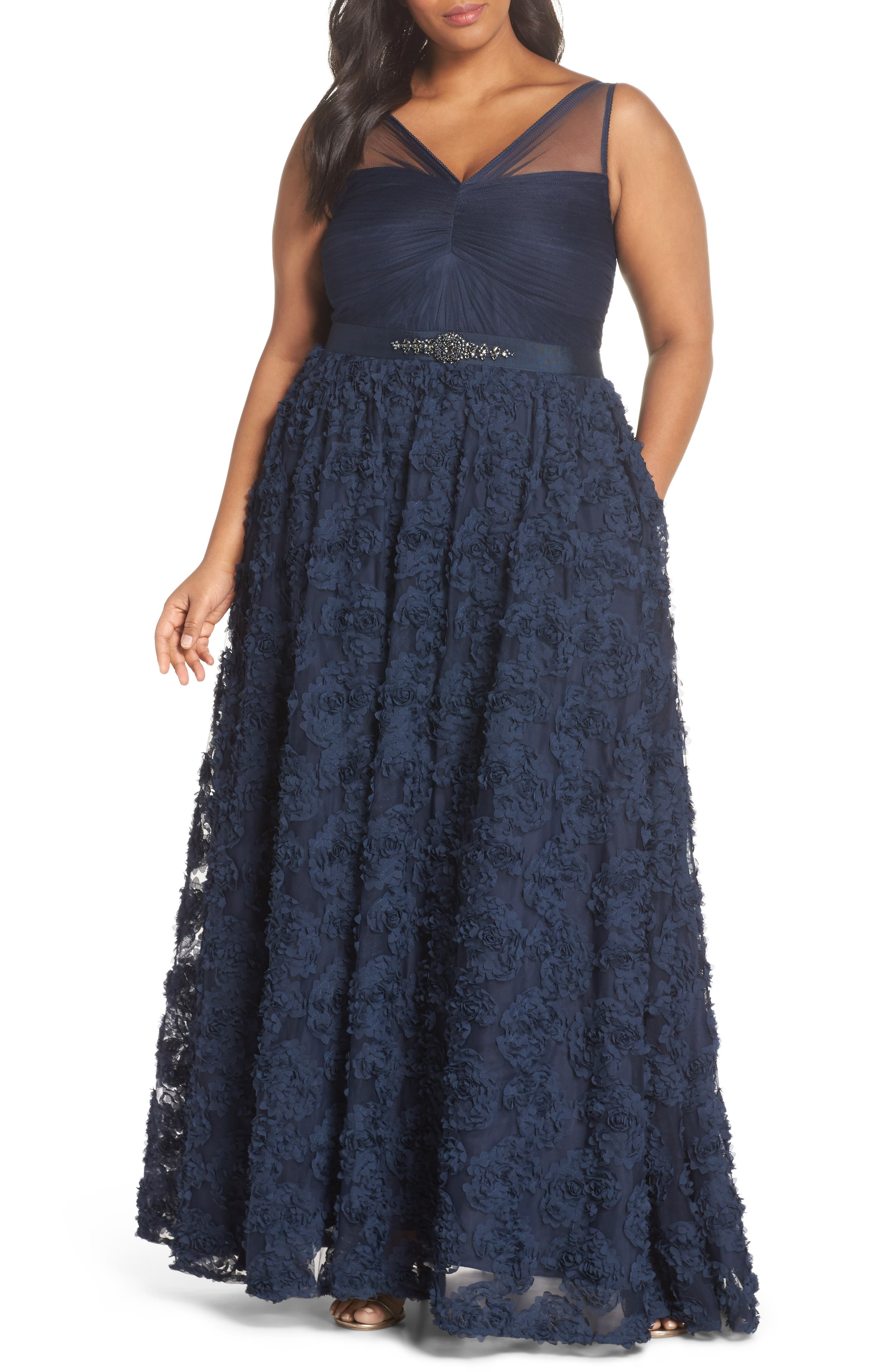 Adrianna Papell Embellished Petal Chiffon Ballgown (Plus Size)