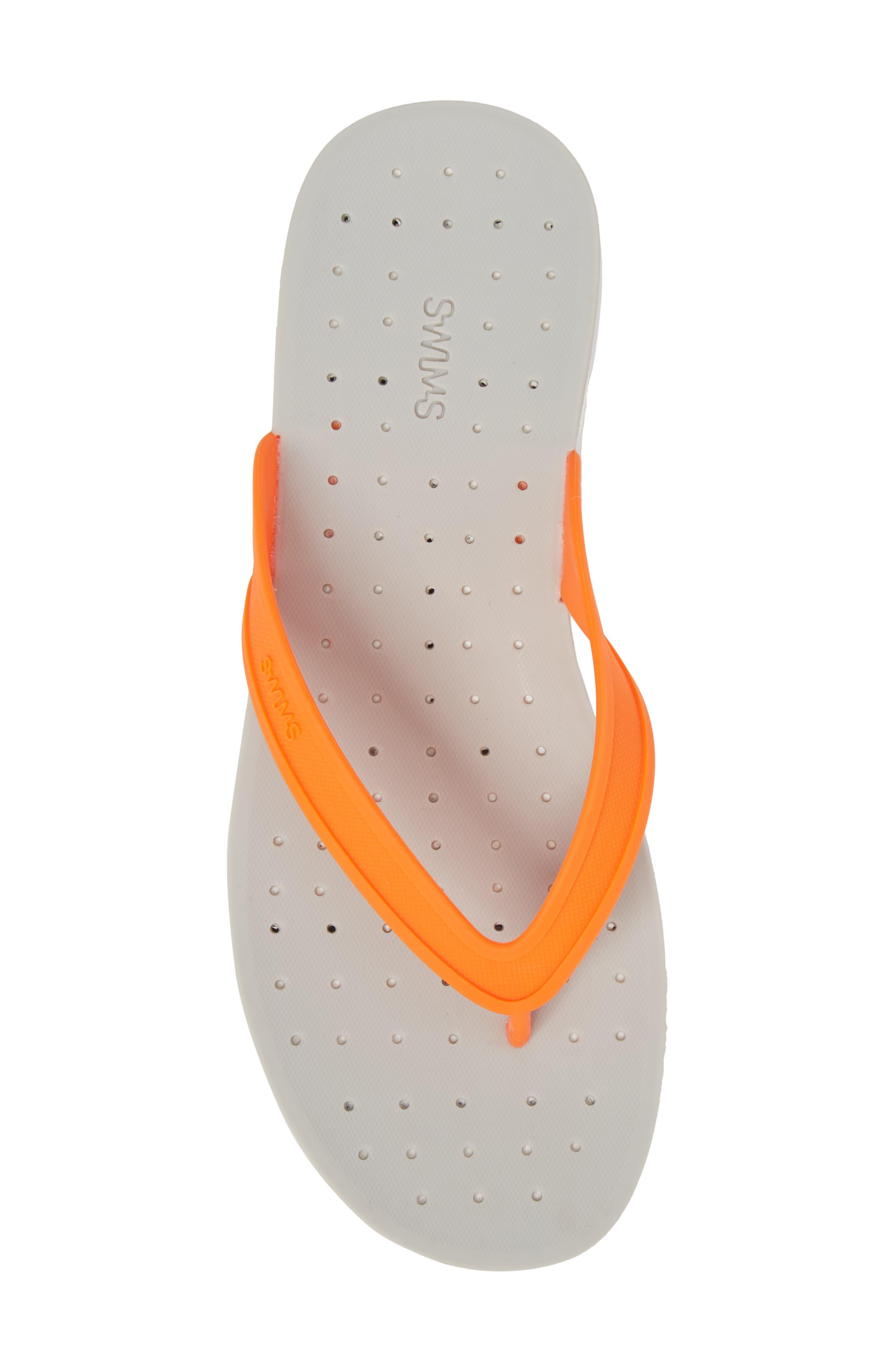 Breeze Flip Flop,                             Alternate thumbnail 5, color,                             Orange/ White/ Grey Fabric