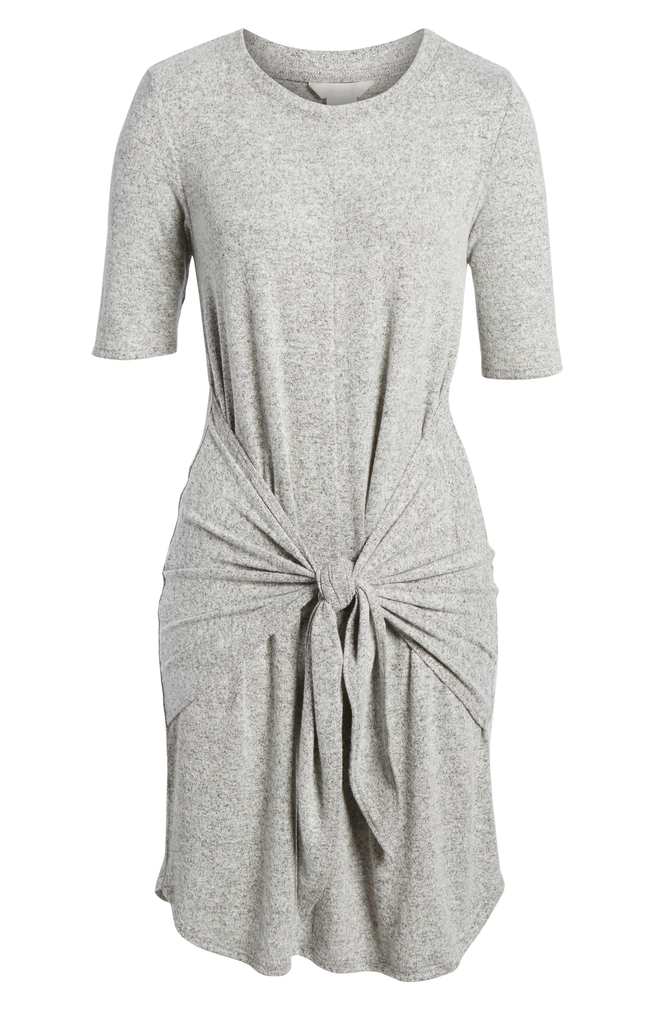 Caslon Off-Duty Tie Front Knit Dress,                             Alternate thumbnail 6, color,                             Grey Heather