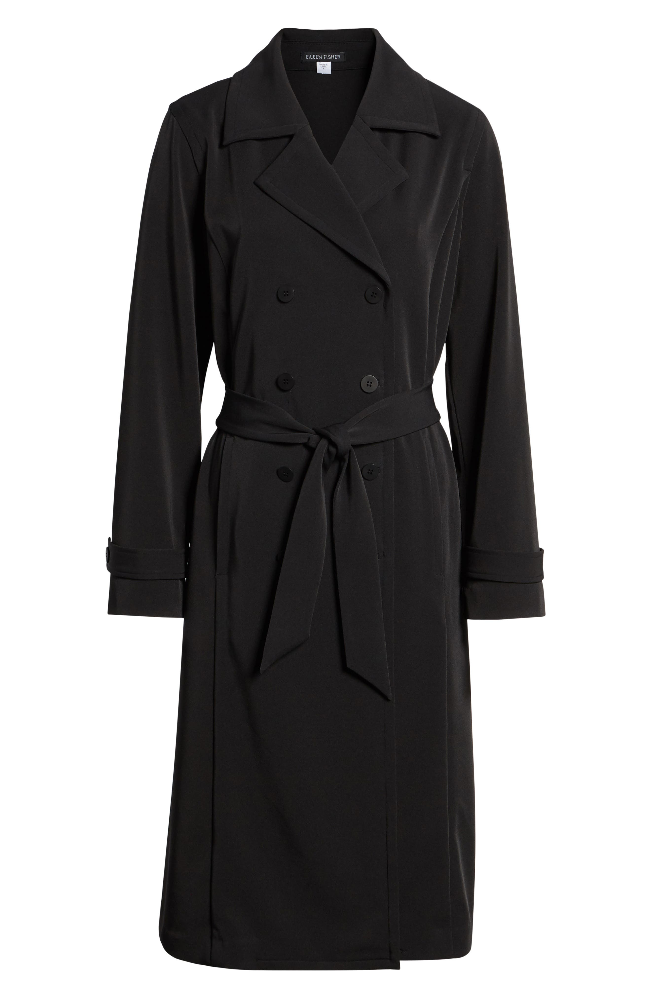 Trench Coat,                             Alternate thumbnail 7, color,                             Black