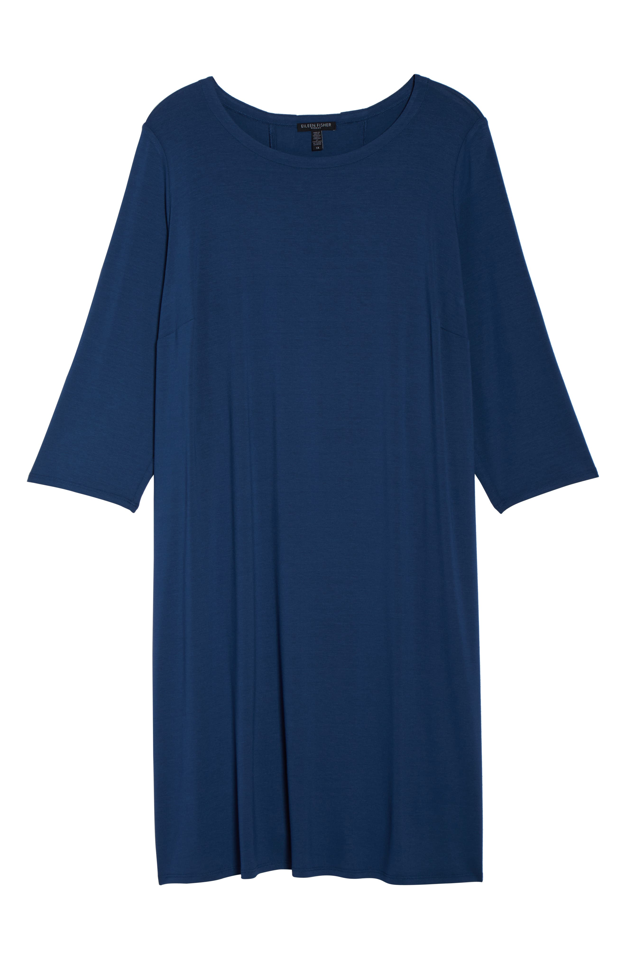 Jewel Neck Tie Back Dress,                             Alternate thumbnail 6, color,                             Denim