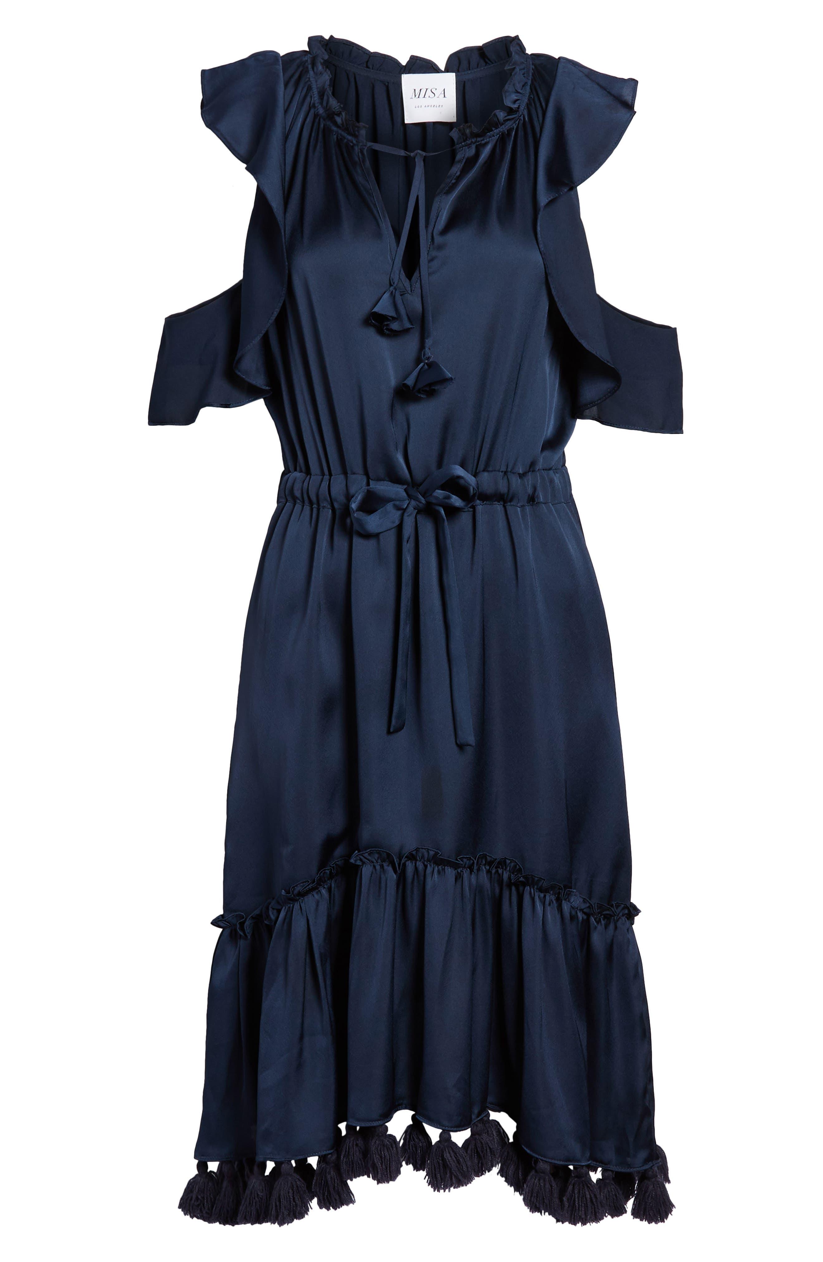 Pillar Satin Dress,                             Alternate thumbnail 6, color,                             Cobalt Blue
