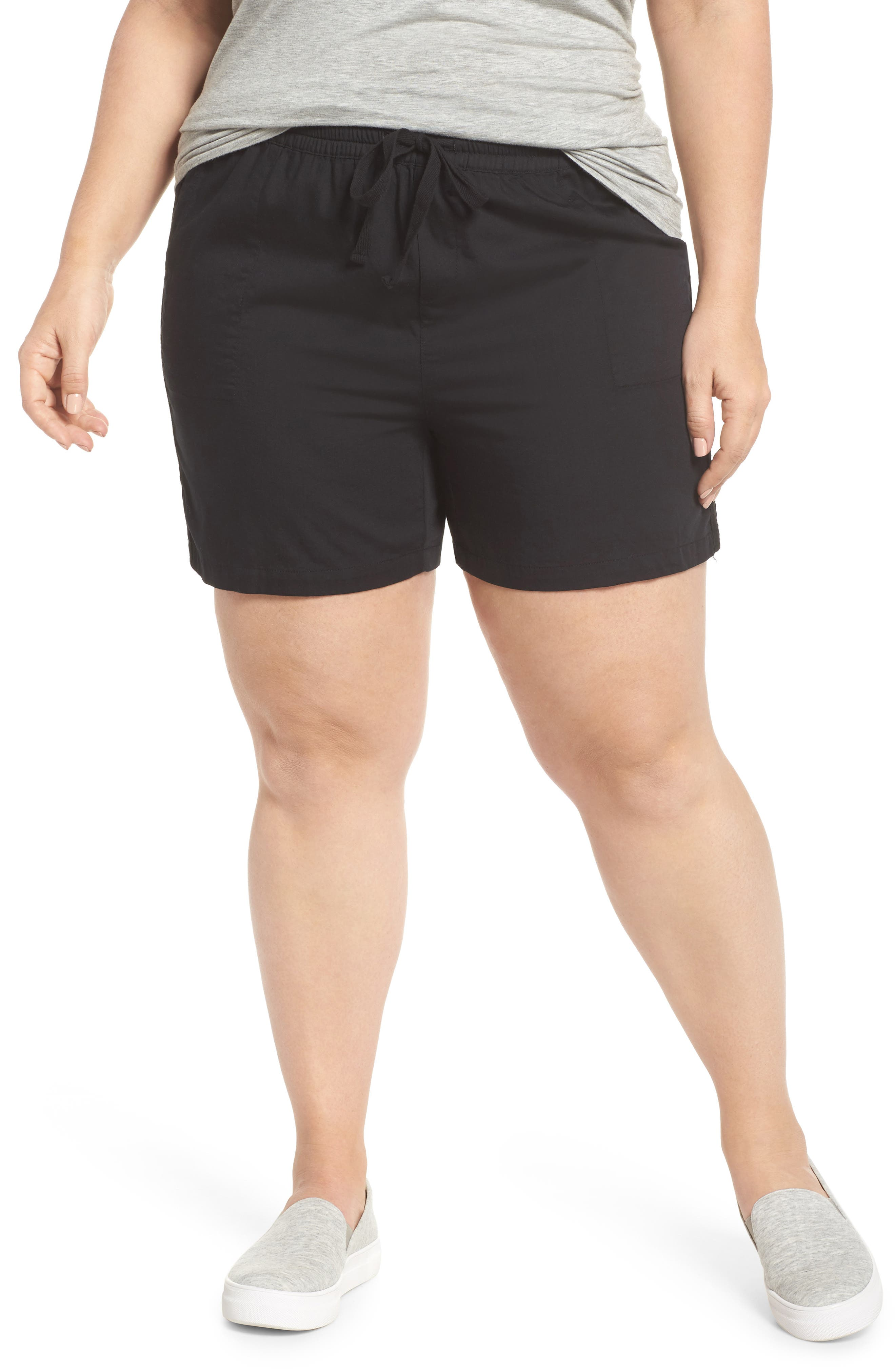 Caslon® Pull-On Twill Shorts (Plus Size)
