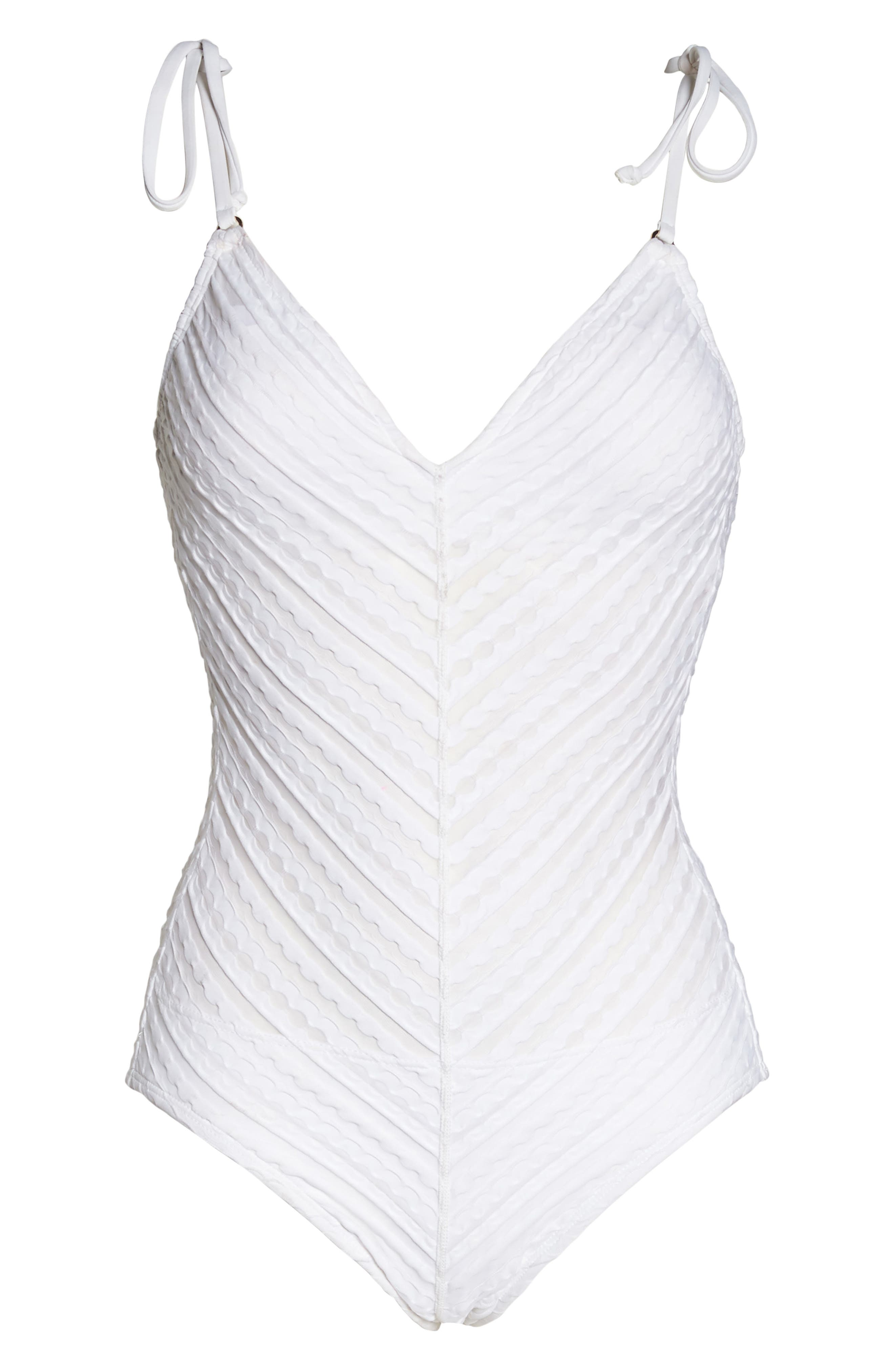 Carly One-Piece Swimsuit,                             Alternate thumbnail 4, color,                             White