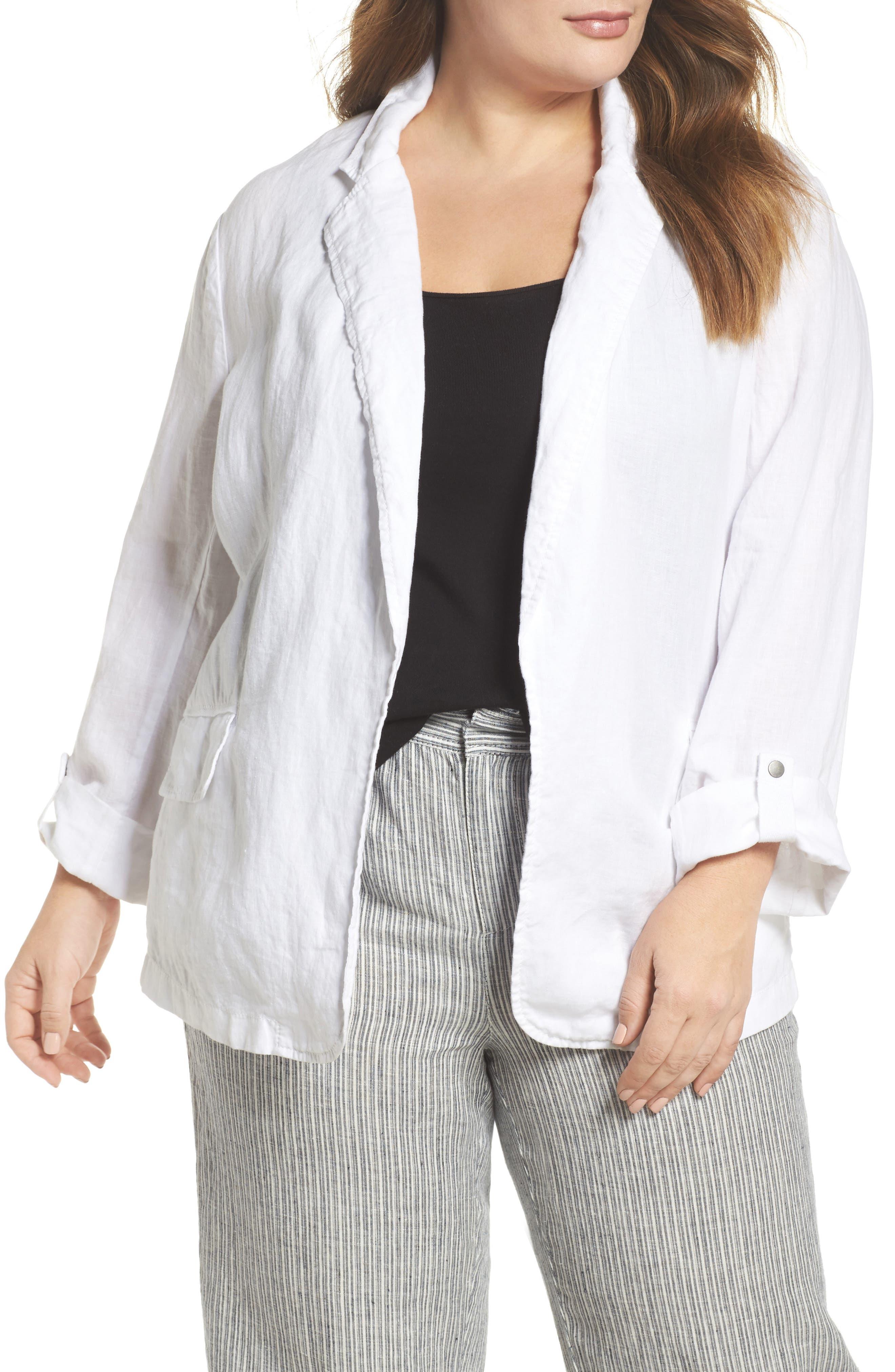 Caslon® Long Linen Boyfriend Blazer (Plus Size)
