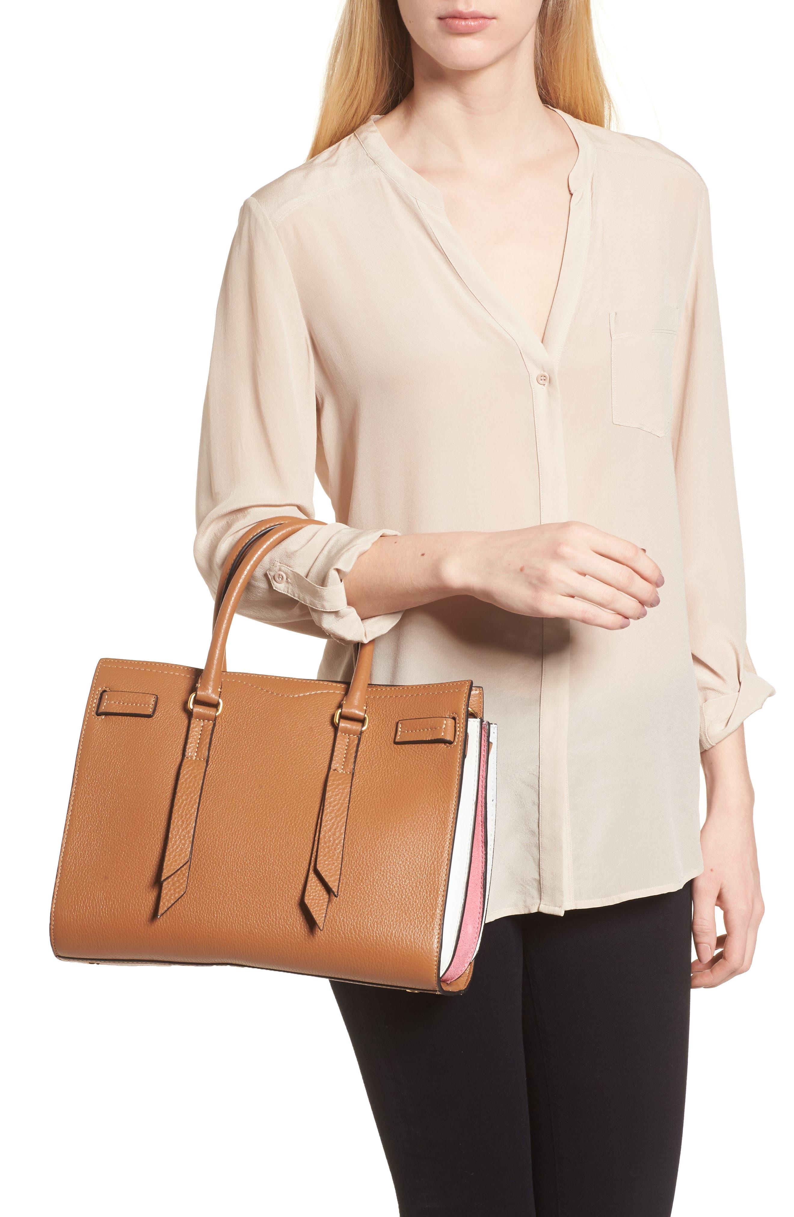 Sherry Calfskin Leather Satchel,                             Alternate thumbnail 2, color,                             Almond Multi