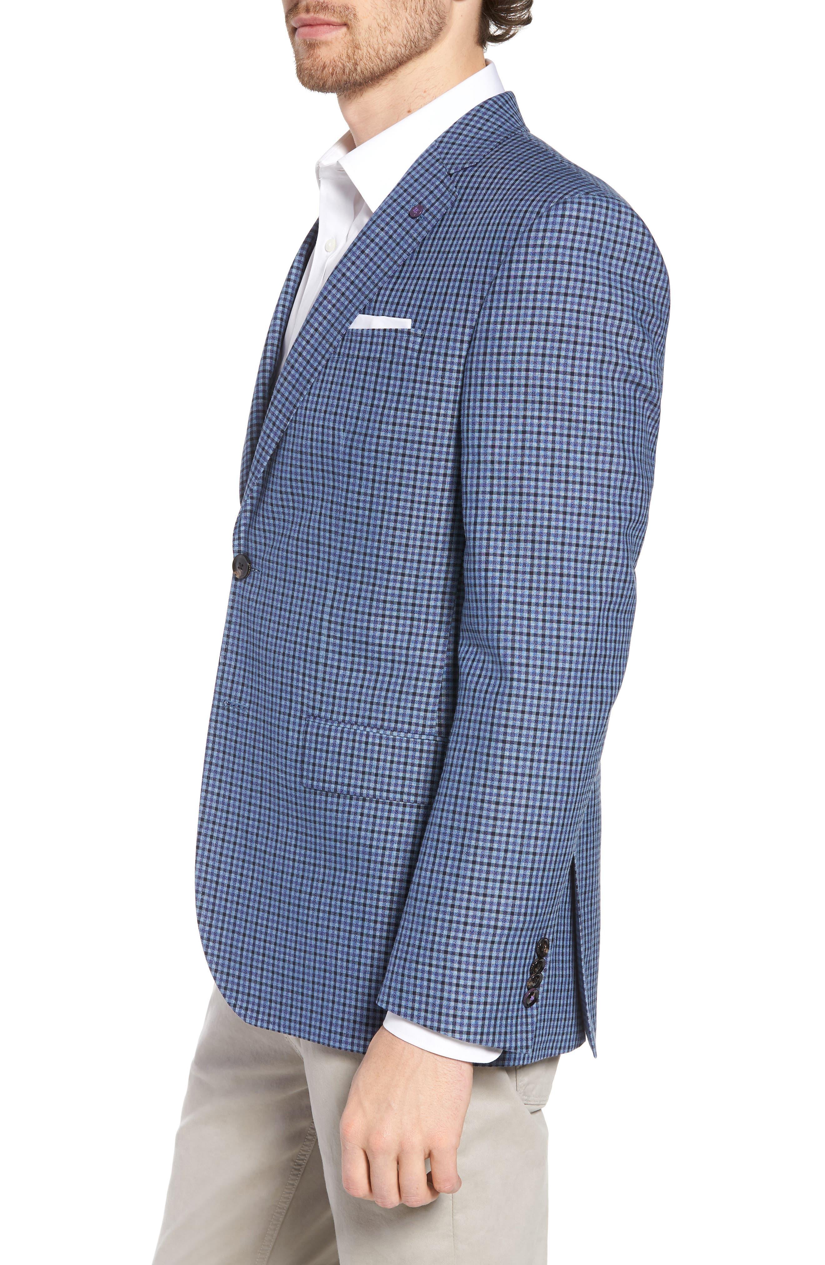 Jay Trim Fit Check Wool & Linen Sport Coat,                             Alternate thumbnail 3, color,                             Blue