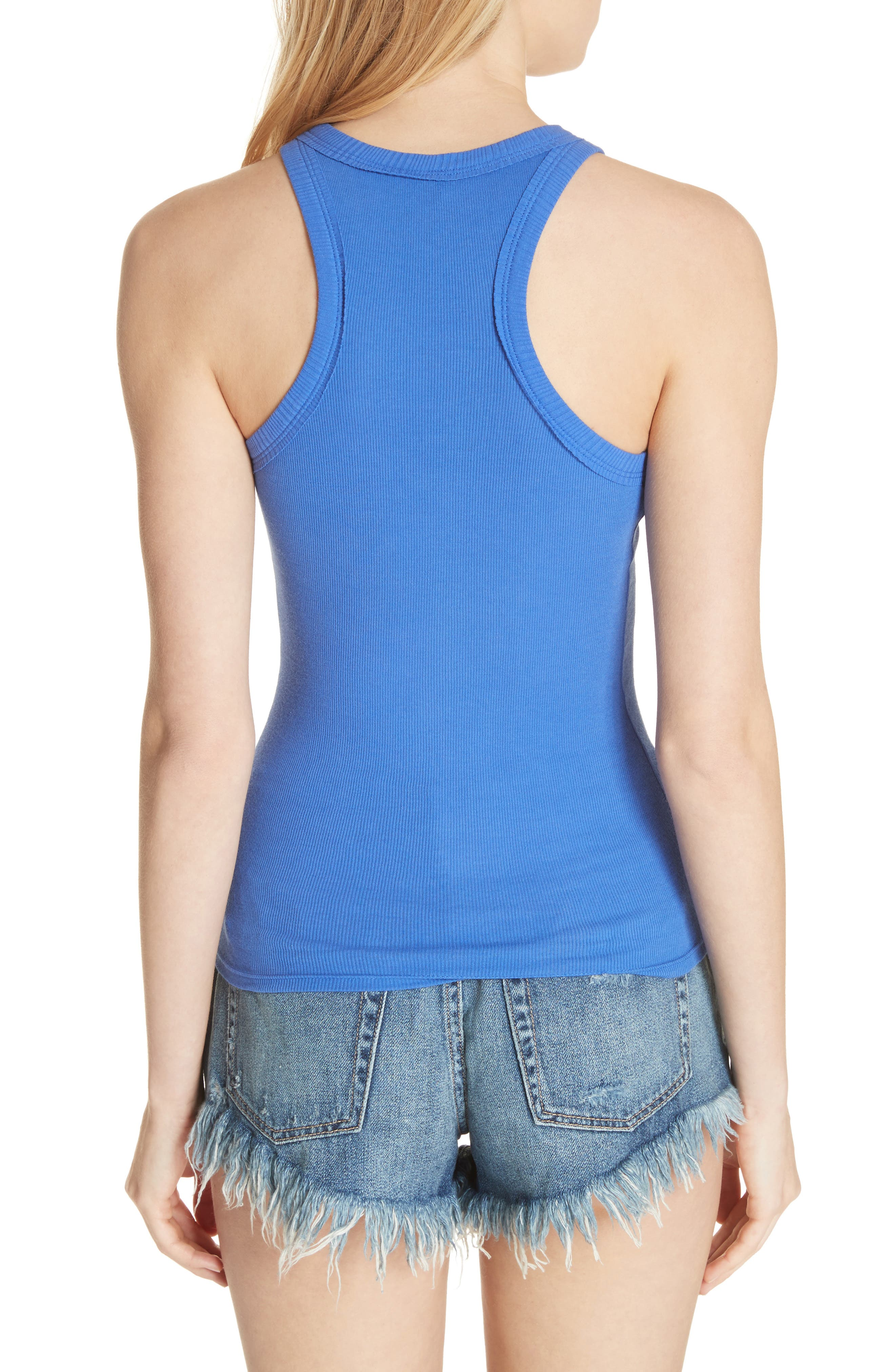 Wide Eyed Racerback Tank,                             Alternate thumbnail 2, color,                             Sapphire